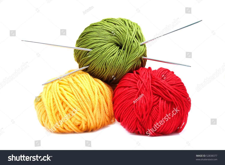 Knitting Needles And Wool : Three balls wool knitting needles isolated stock photo