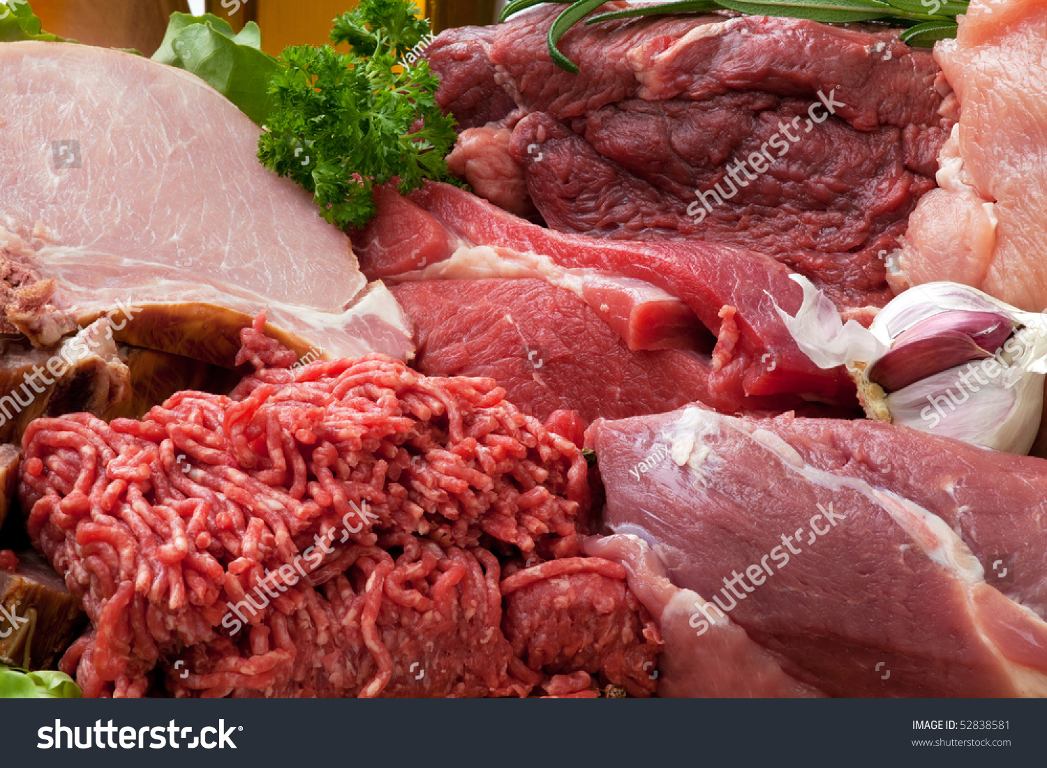 Fresh Raw Meat Background with Smoked Pork Chops, Beef Meat, Turkey ...