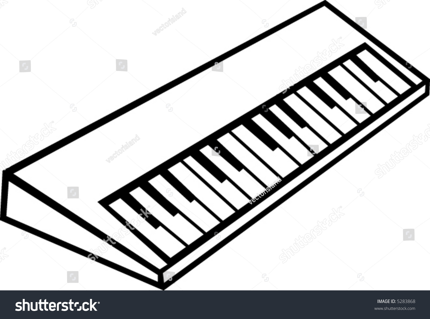 Line Drawing Keyboard : Electronic musical synthesizer keyboard stock vector