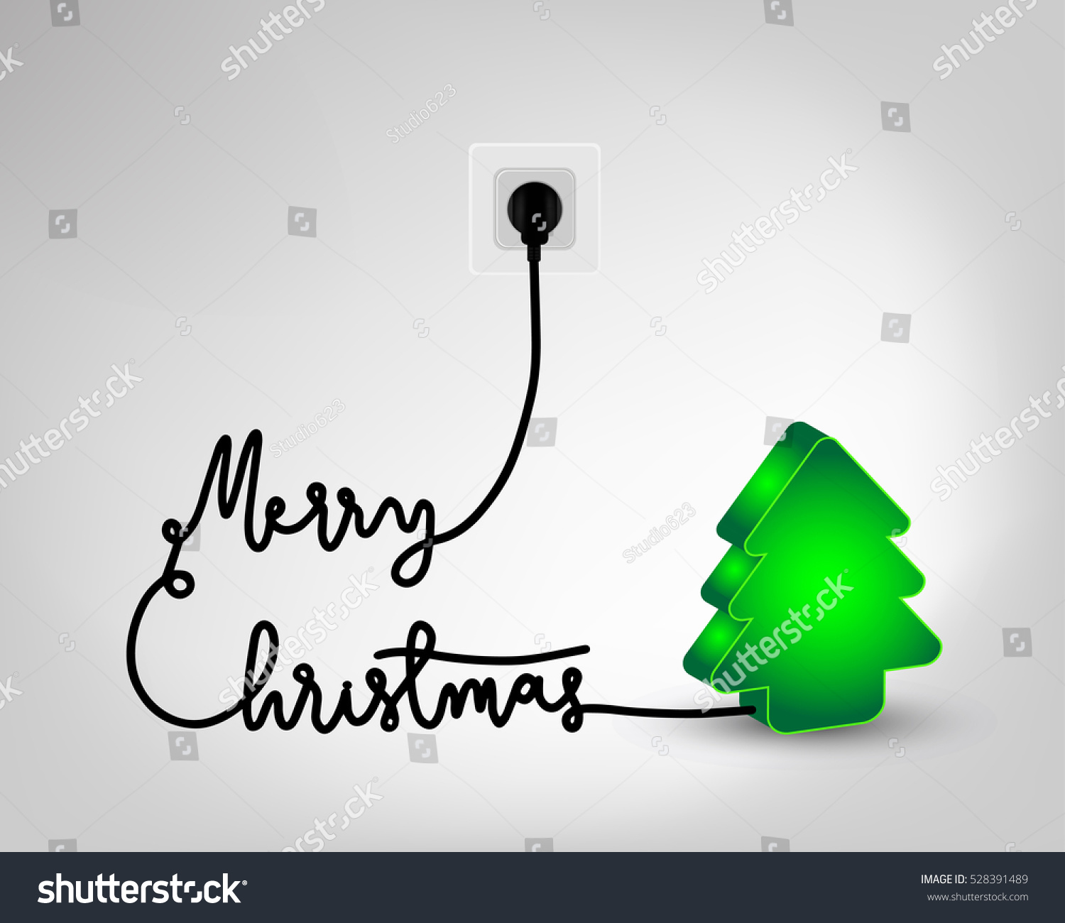 Design christmas tree light bulb merry stock vector 528391489 design of christmas tree light bulb with merry christmas wire plug for greeting card poster kristyandbryce Image collections