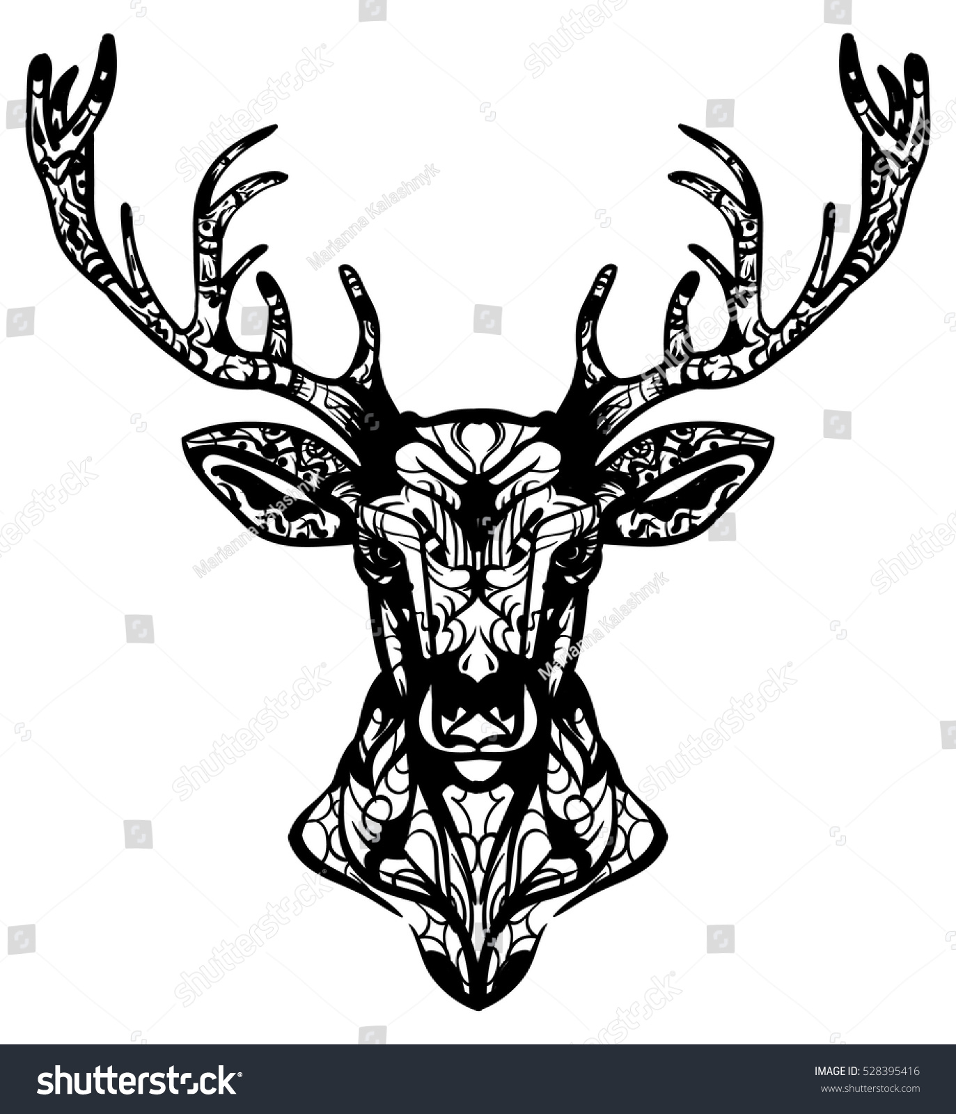 Royalty-free Ornamented deer hand drawn vector… #528395416 Stock ...