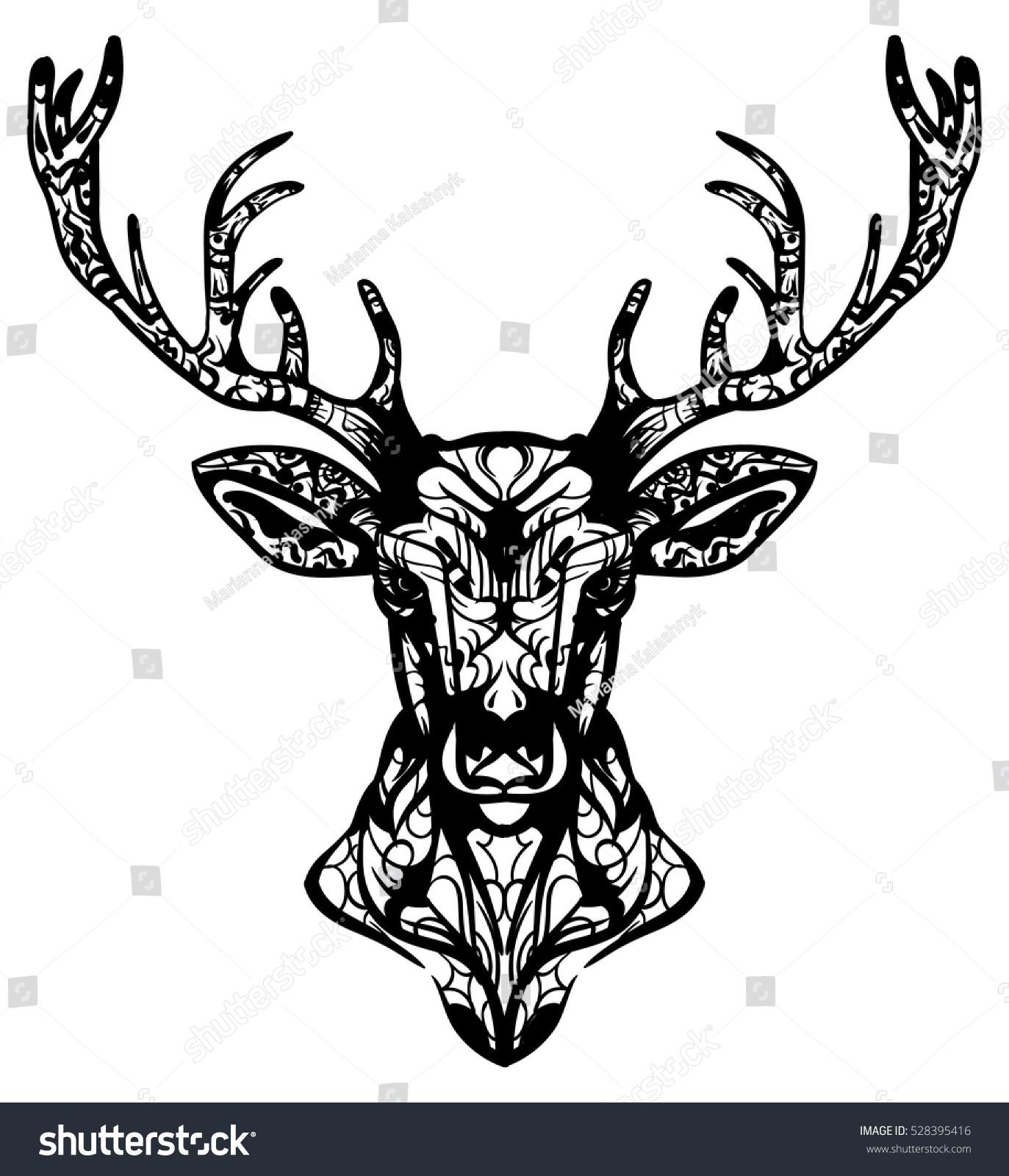 Ornamented deer hand drawn vector illustration. Ethnic animal vector ...