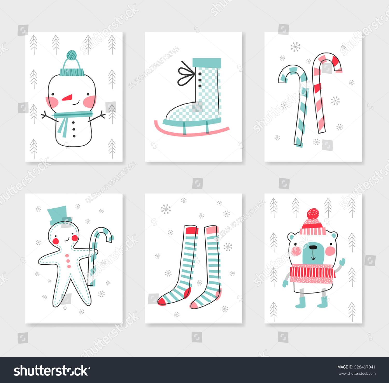 Collection 6 Christmas Card Templates Christmas Stock Vector