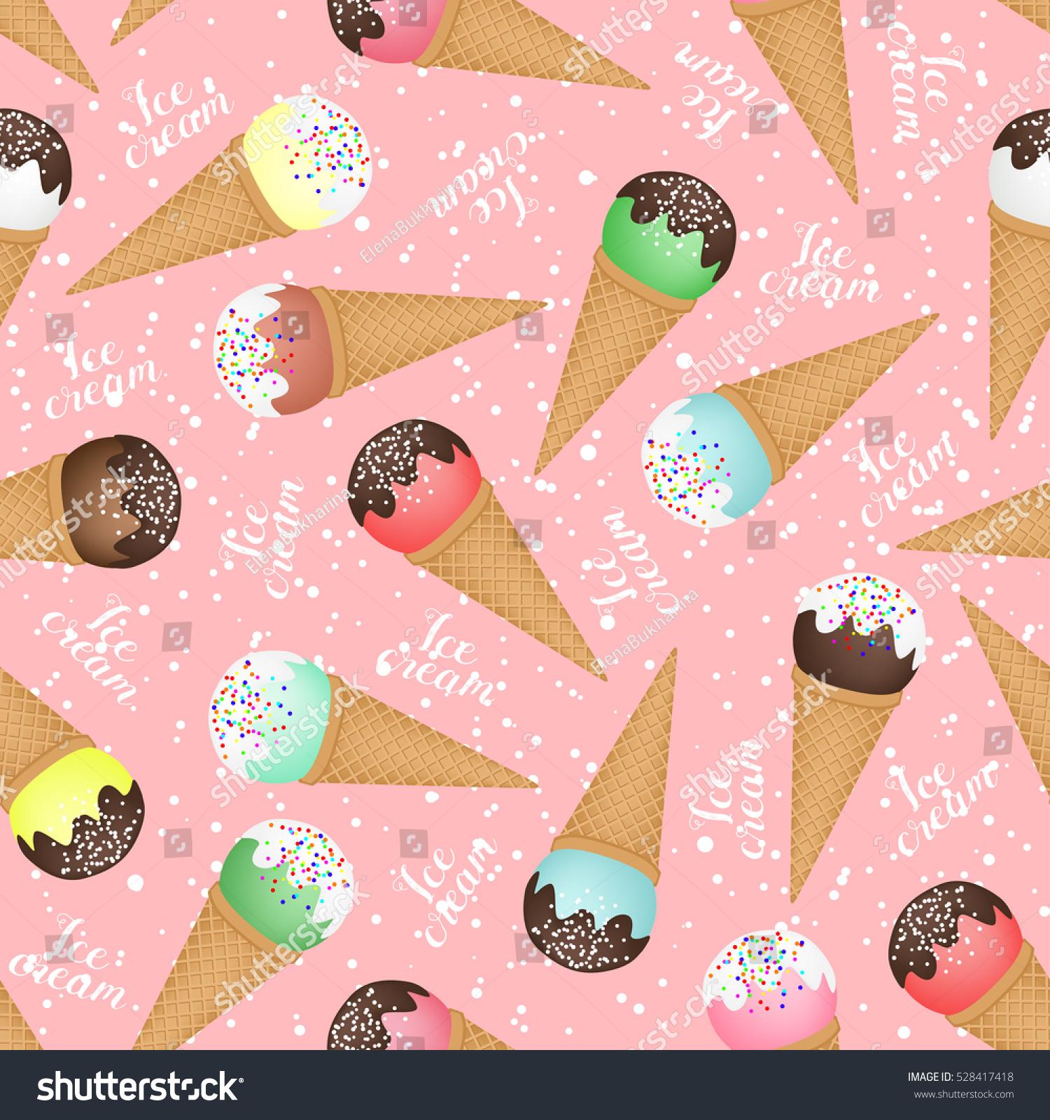 Seamless Ice Cream Background: Seamless Background Ice Cream Cones Different Stock Vector