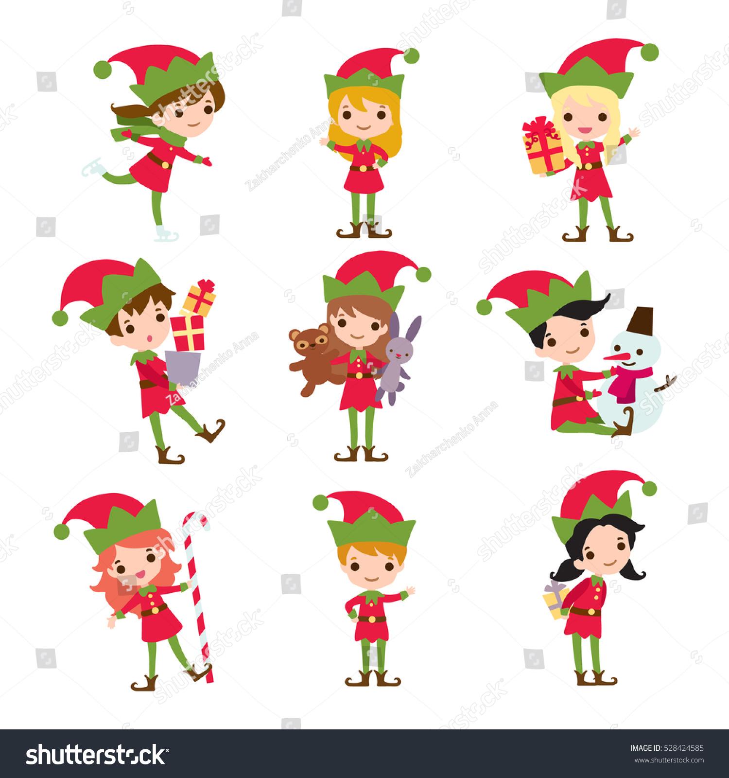 set elves kids cartoon character vector stock vector 528424585