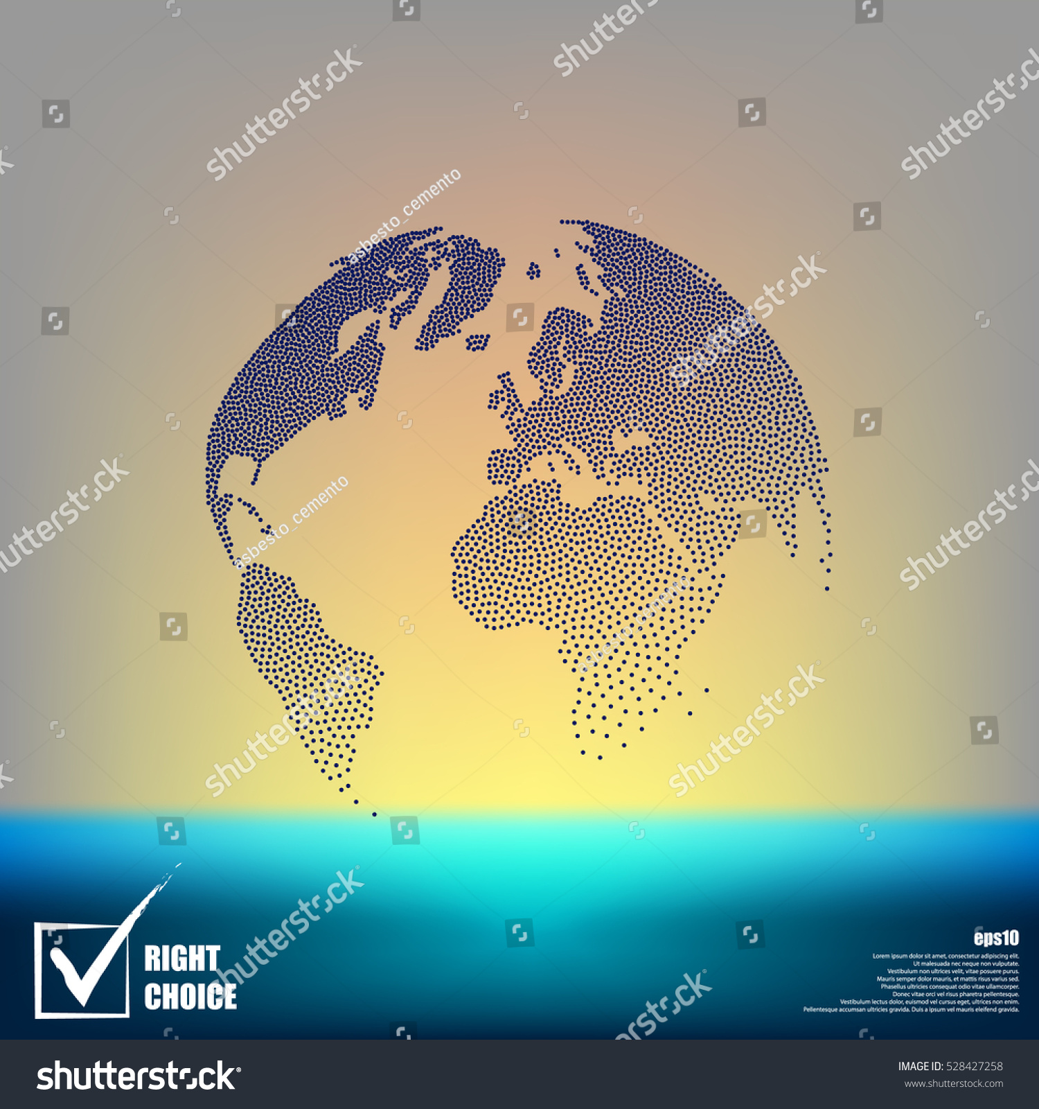 Flat paper cut style icon of globe Vector illustration