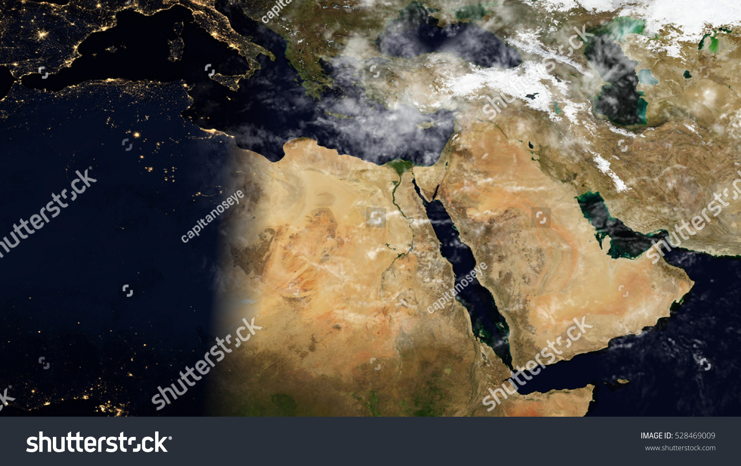 Middle East North Africa Satellite Map Stock Illustration