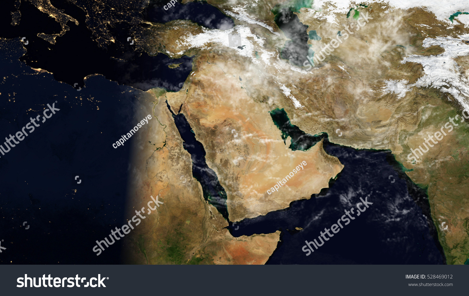 Middle East Satellite Map Composition Elements Stock Illustration - Middle east satellite map