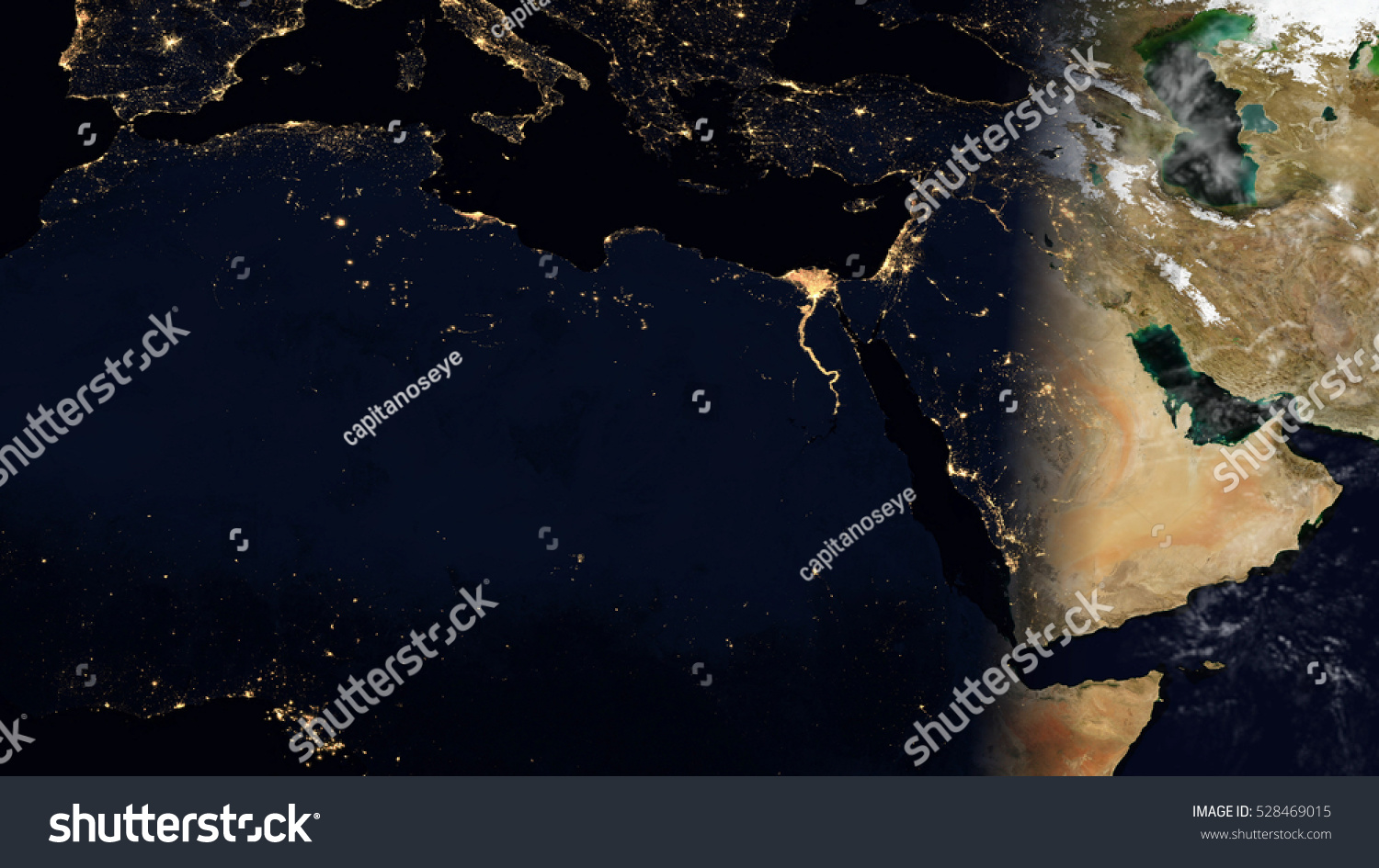 Middle East North Africa Satellite Map Stock Illustration 528469015 ...