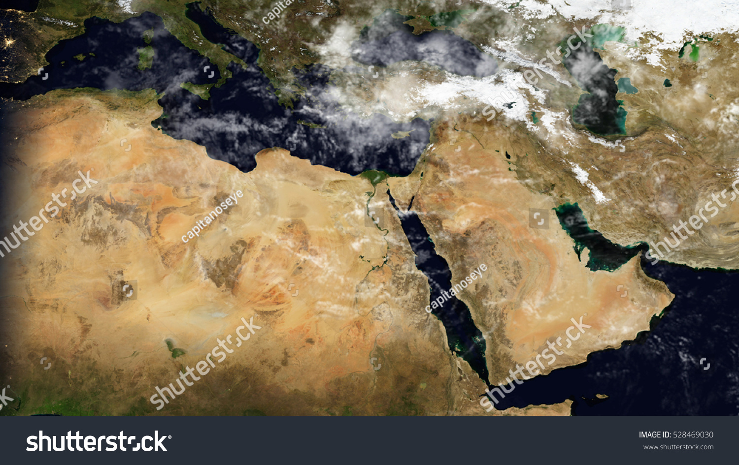 Middle East North Africa Satellite Map Stock Illustration - Middle east satellite map