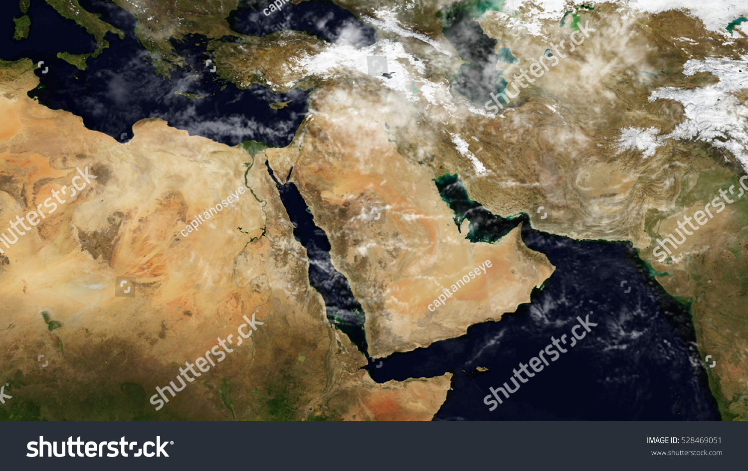 Middle East Satellite Map Composition Elements Stock Illustration