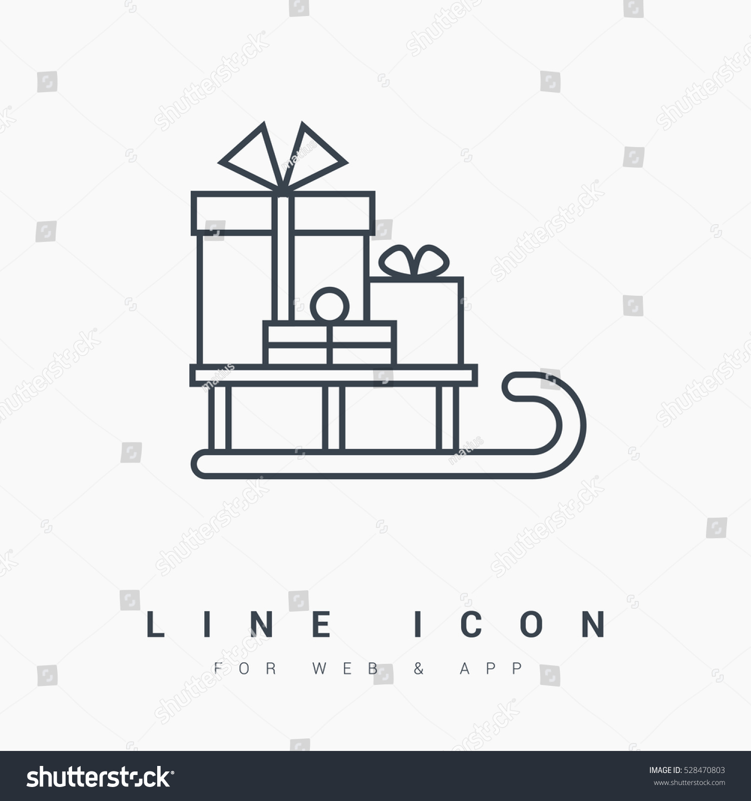 Sled Gifts Isolated Minimal Icon Christmas Stock Vector (Royalty ...