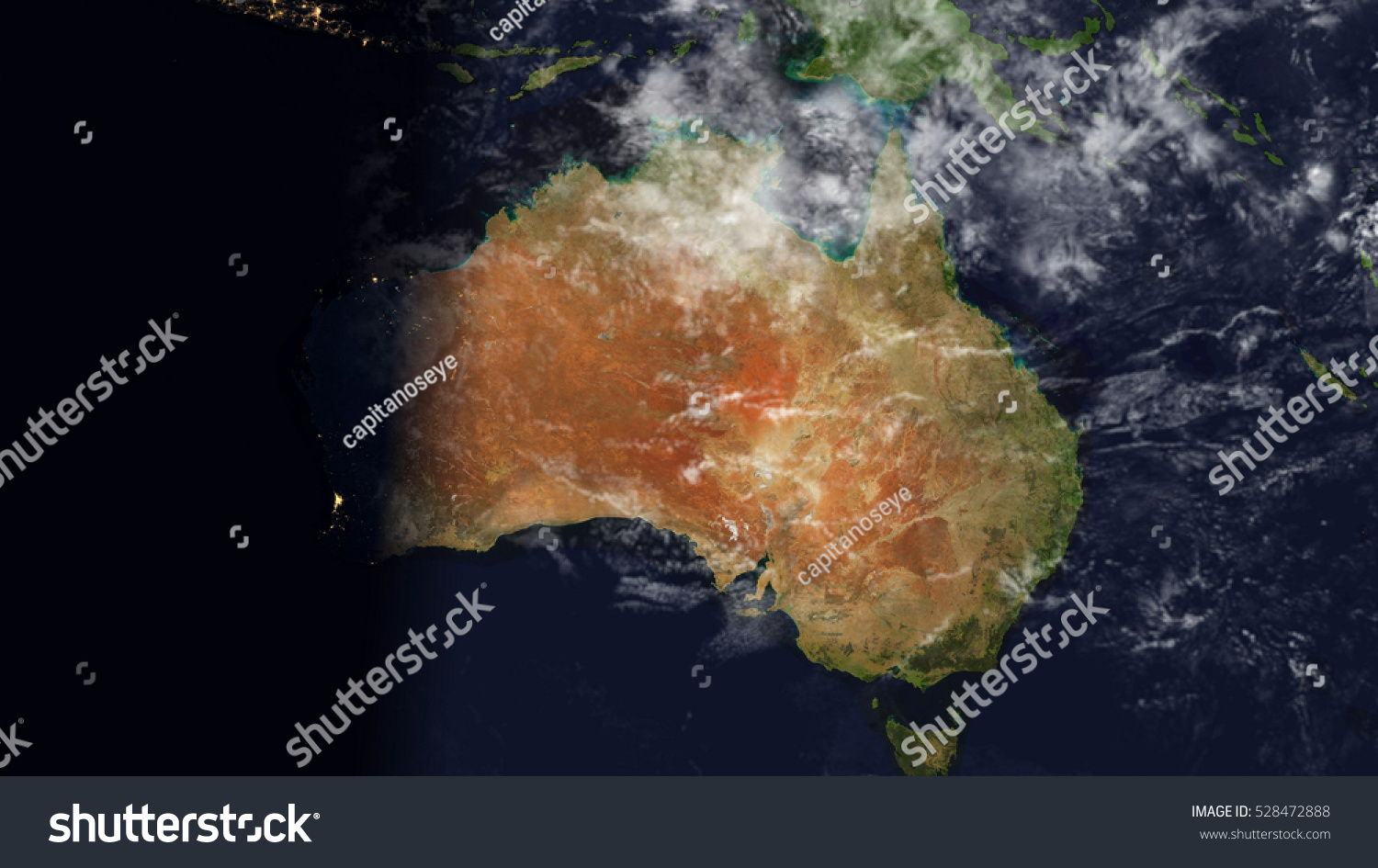 Map Of Australia From Space.Australia Satellite Space View Planet Earth Stock Illustration 528472888
