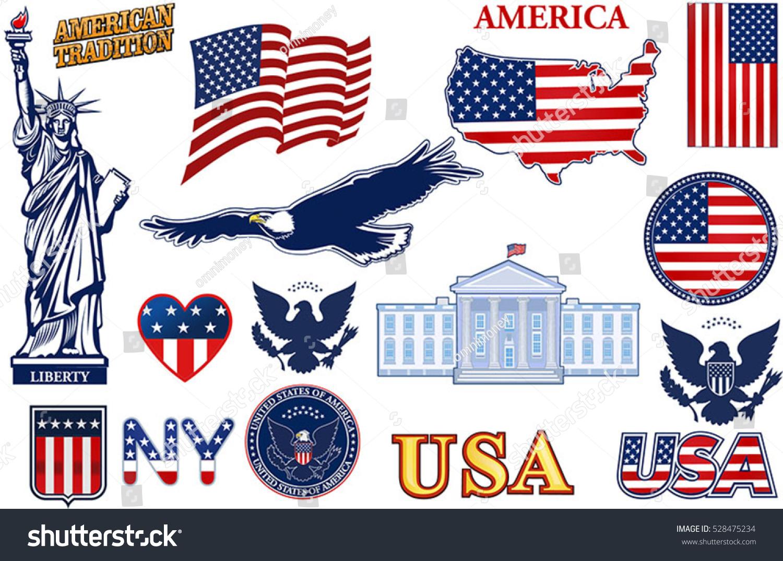 Symbols Usa Stock Vector Royalty Free 528475234 Shutterstock