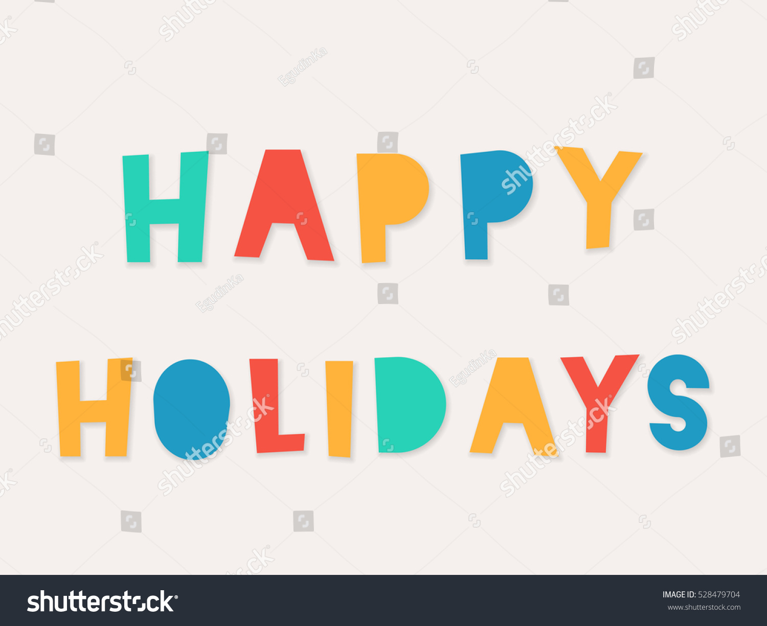 Happy Holidays Colorful Paper Cut Word Swith Shadow Vector Illustration For Design Web Banner