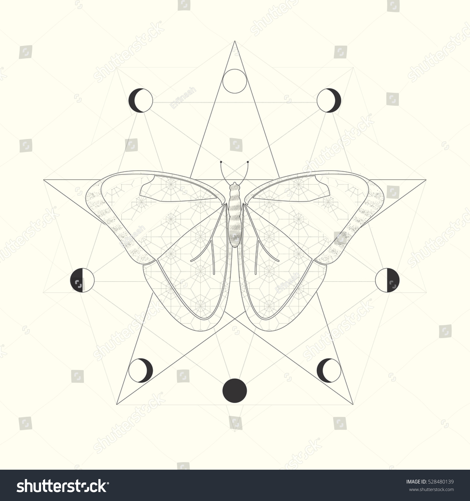 Butterfly symbol rebirth transformation moon phases stock vector butterfly as a symbol of rebirth and transformation moon phases sacred geometry mandala adult buycottarizona