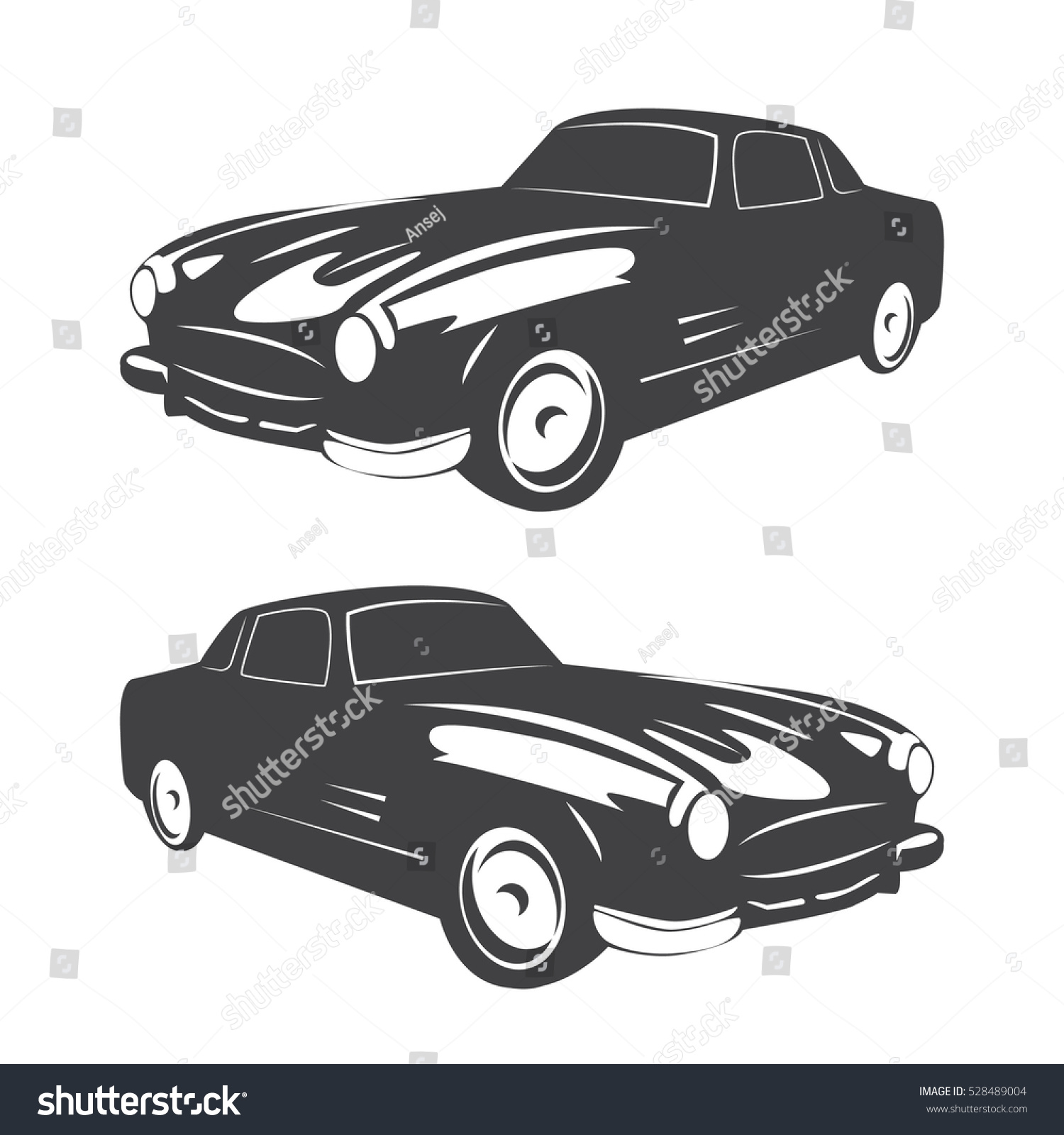 Vintage Muscle Car Vector Abstract Old Stock Vector