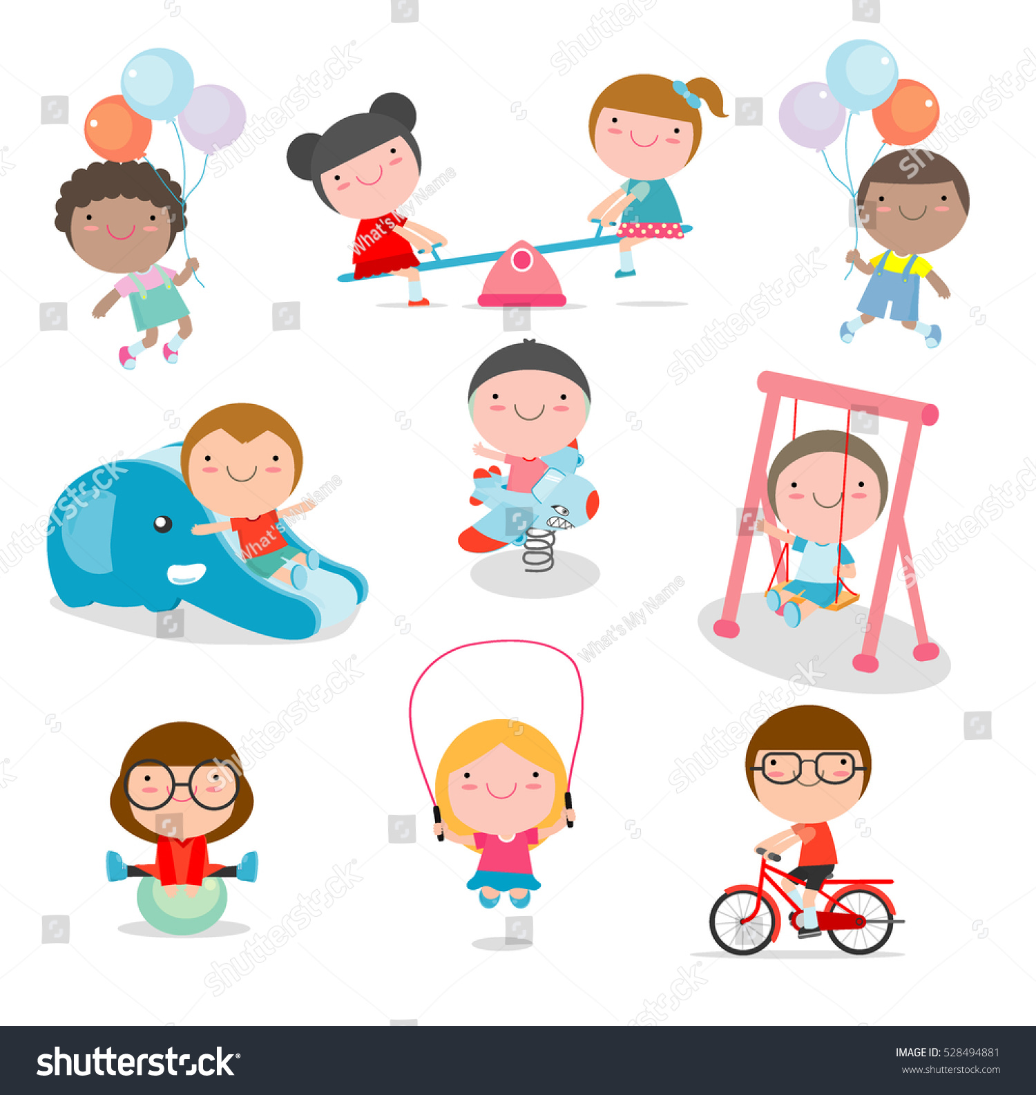 Cute Children Playing Toys Playground Kids Stock Vector Royalty