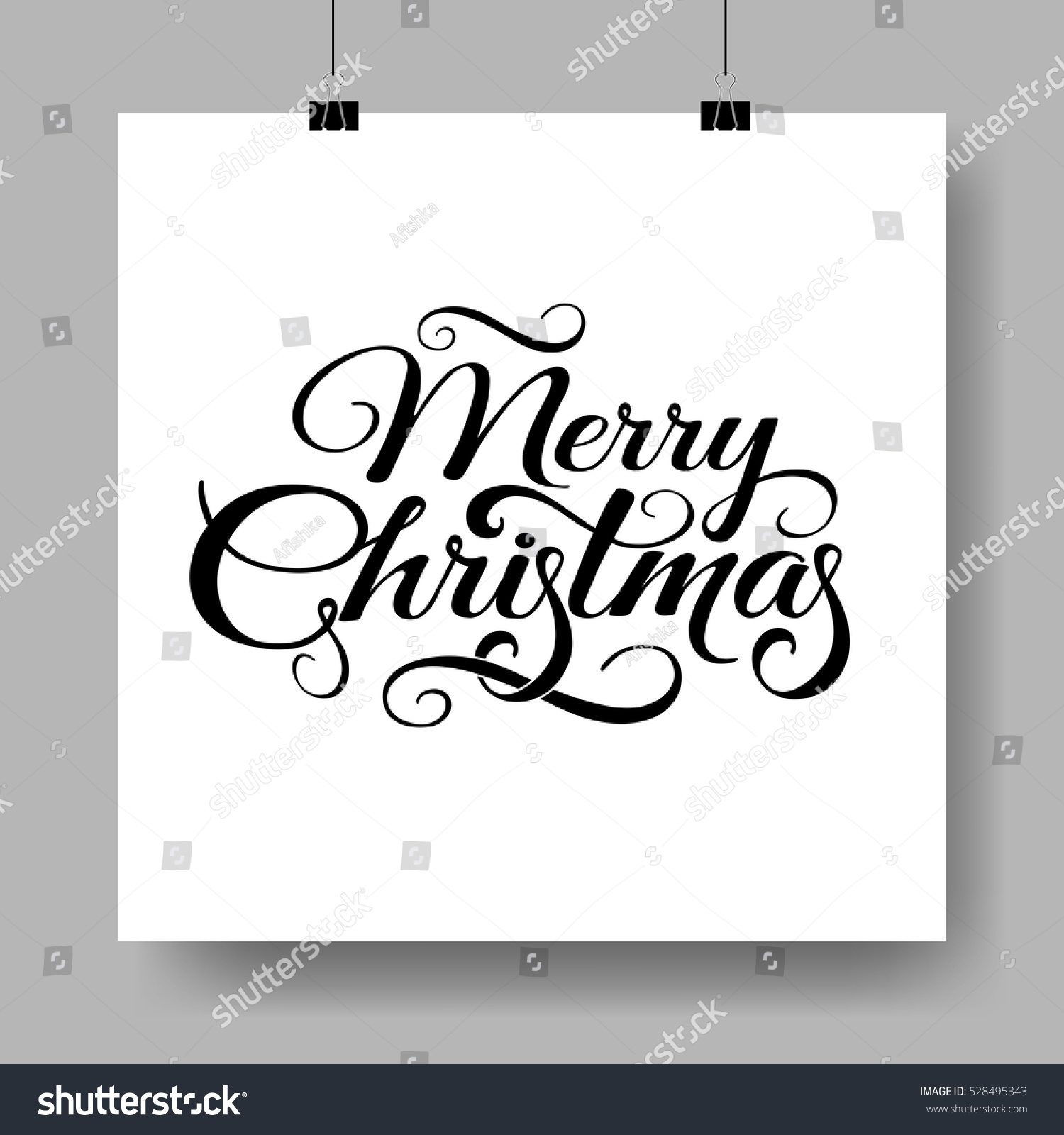 Merry Christmas Text Composition Calligraphy Lettering