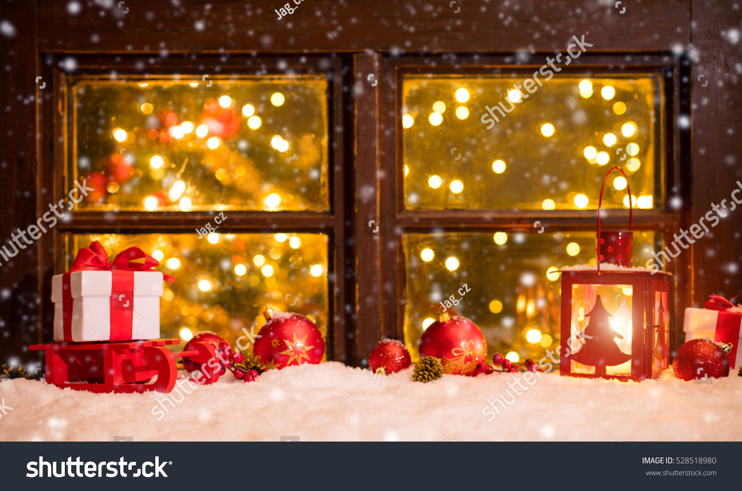 atmospheric christmas window sill with decoration and blur. Black Bedroom Furniture Sets. Home Design Ideas