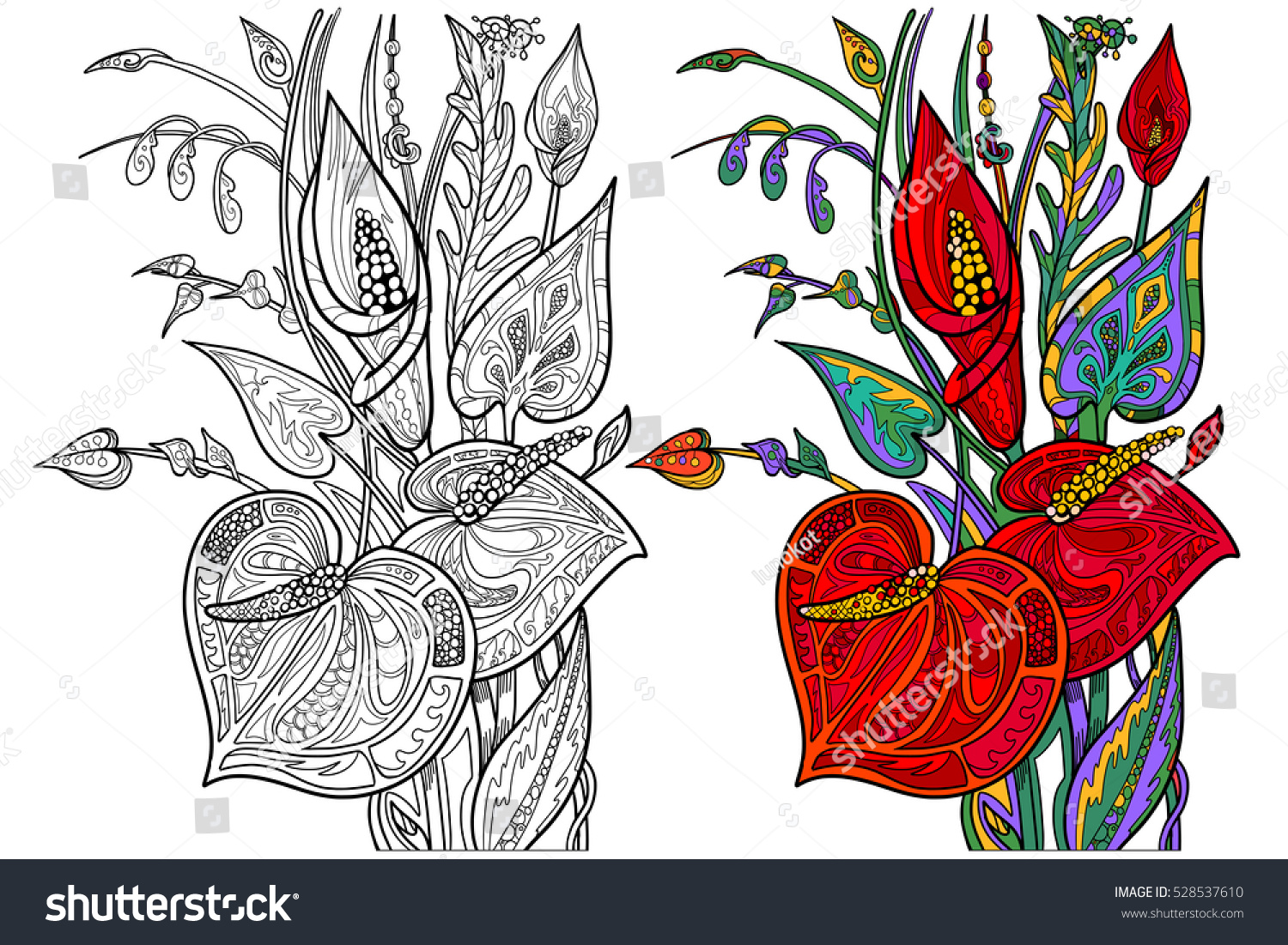 Bouquet Flowers Coloring Book Page Adult Stock Vector HD (Royalty ...