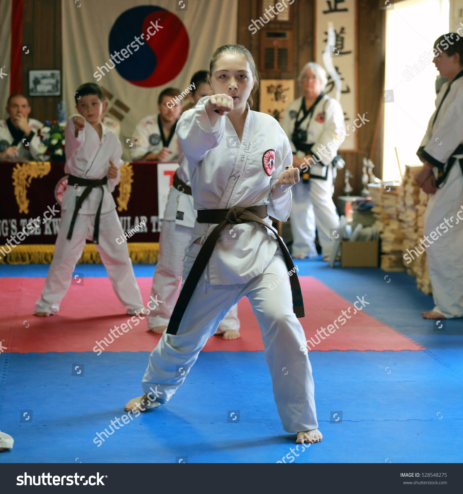 CEDAR RAPIDS IOWA USA DECEMBER 3 2016 Tae Kwon Do students test for promotion