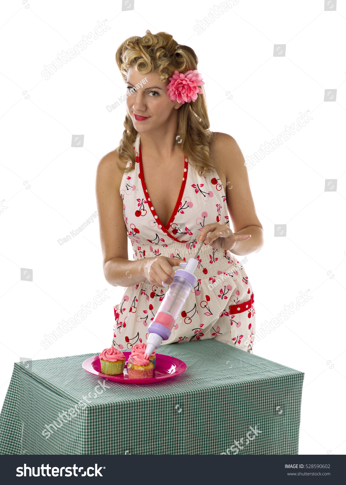Retro housewife baking eating isolated on stock photo for Classic housewife