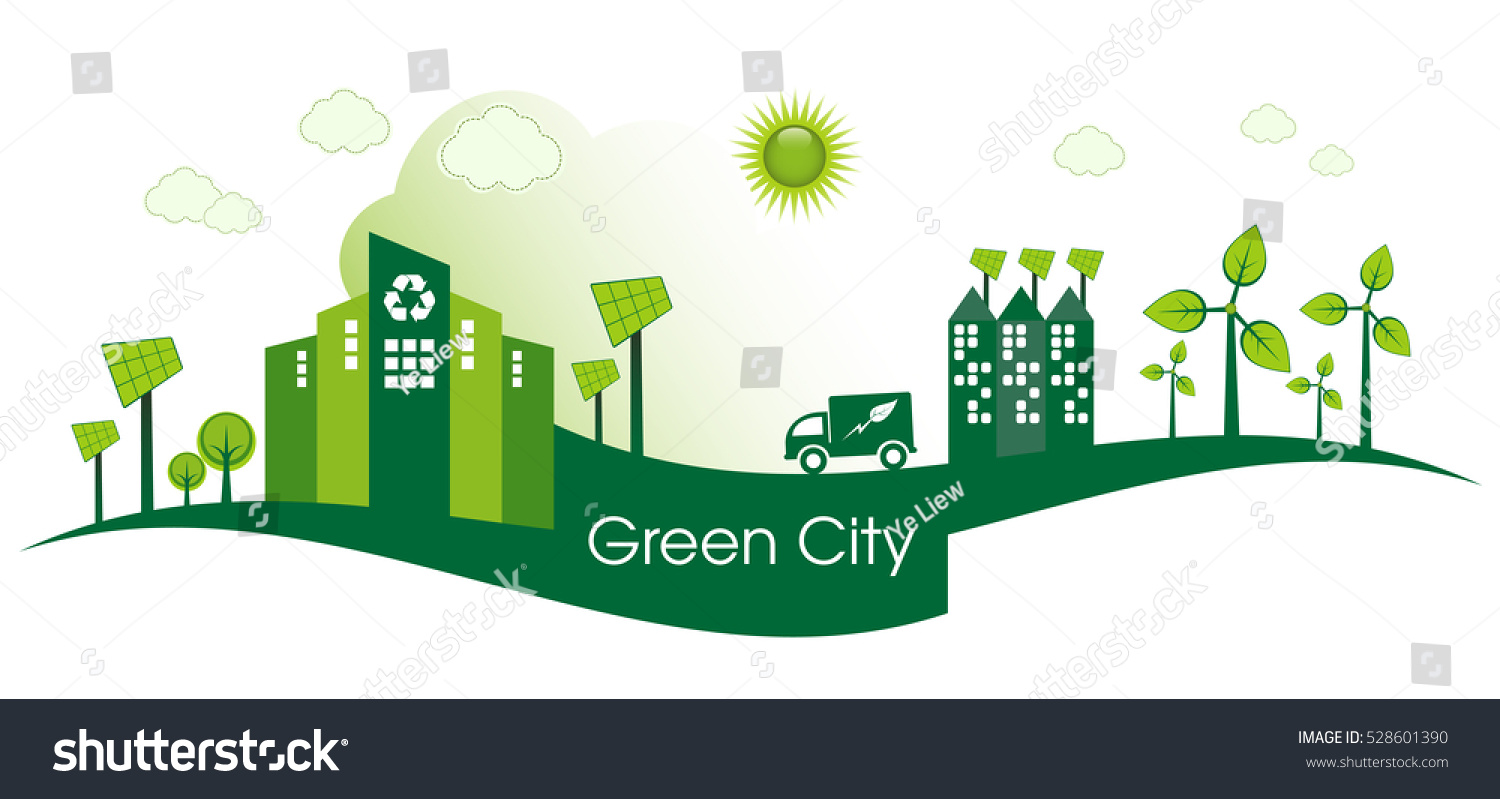 green eco city living concept stock vector 528601390 shutterstock. Black Bedroom Furniture Sets. Home Design Ideas