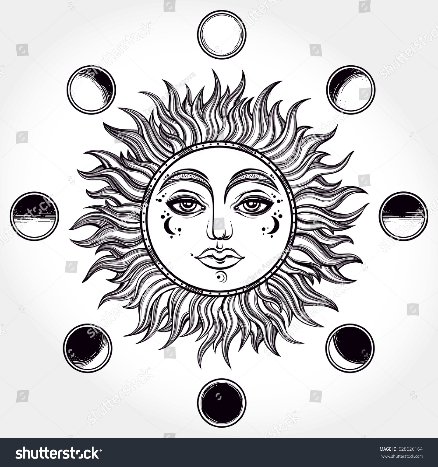 royalty vintage elegant hand draw work of sun  vintage elegant hand draw work of sun moon phases sacred geometry esoteric philosophies tattoo art vector illustration for coloring book