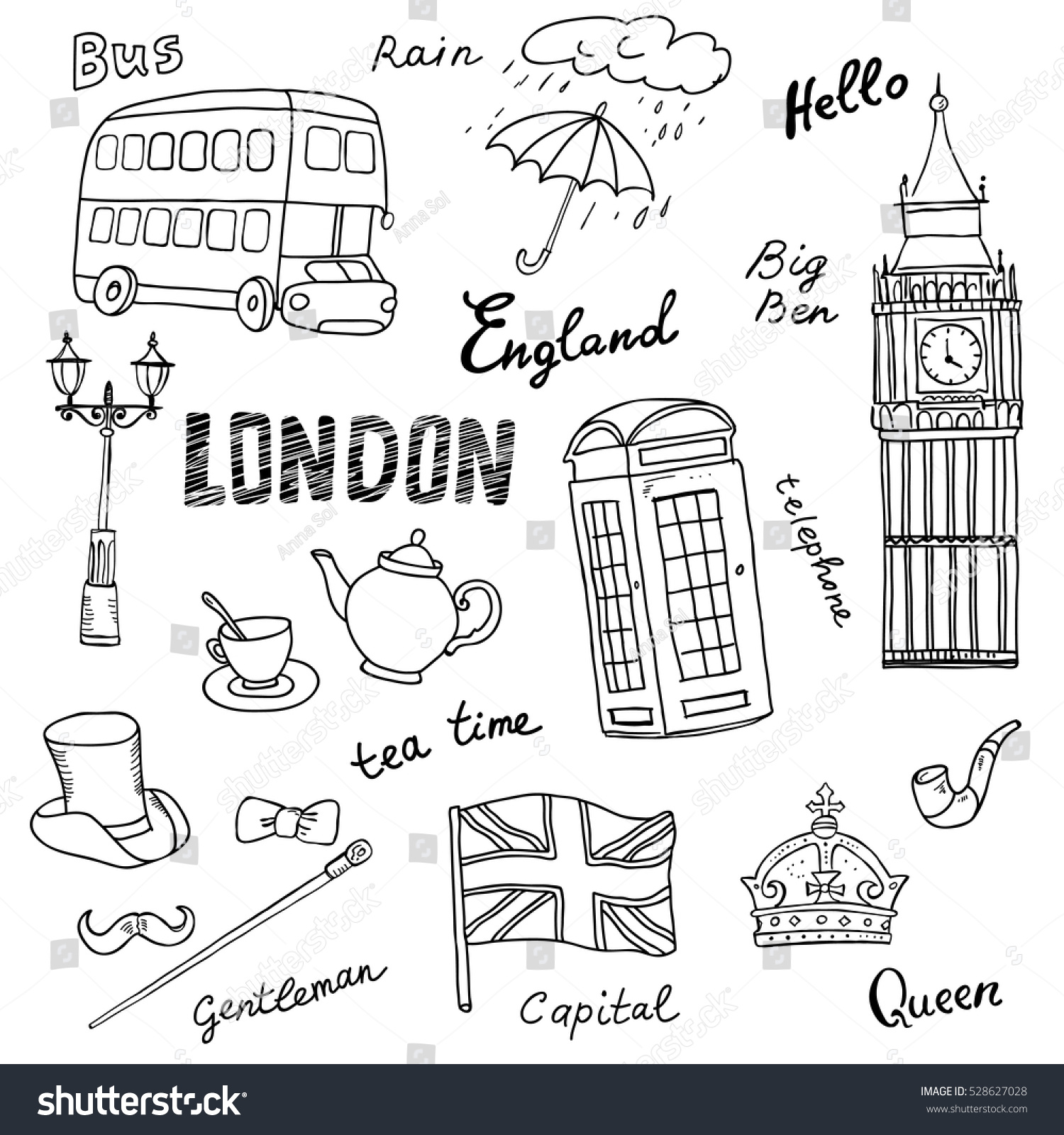 set england symbolslandmarksblack white sketchhand drawn stock