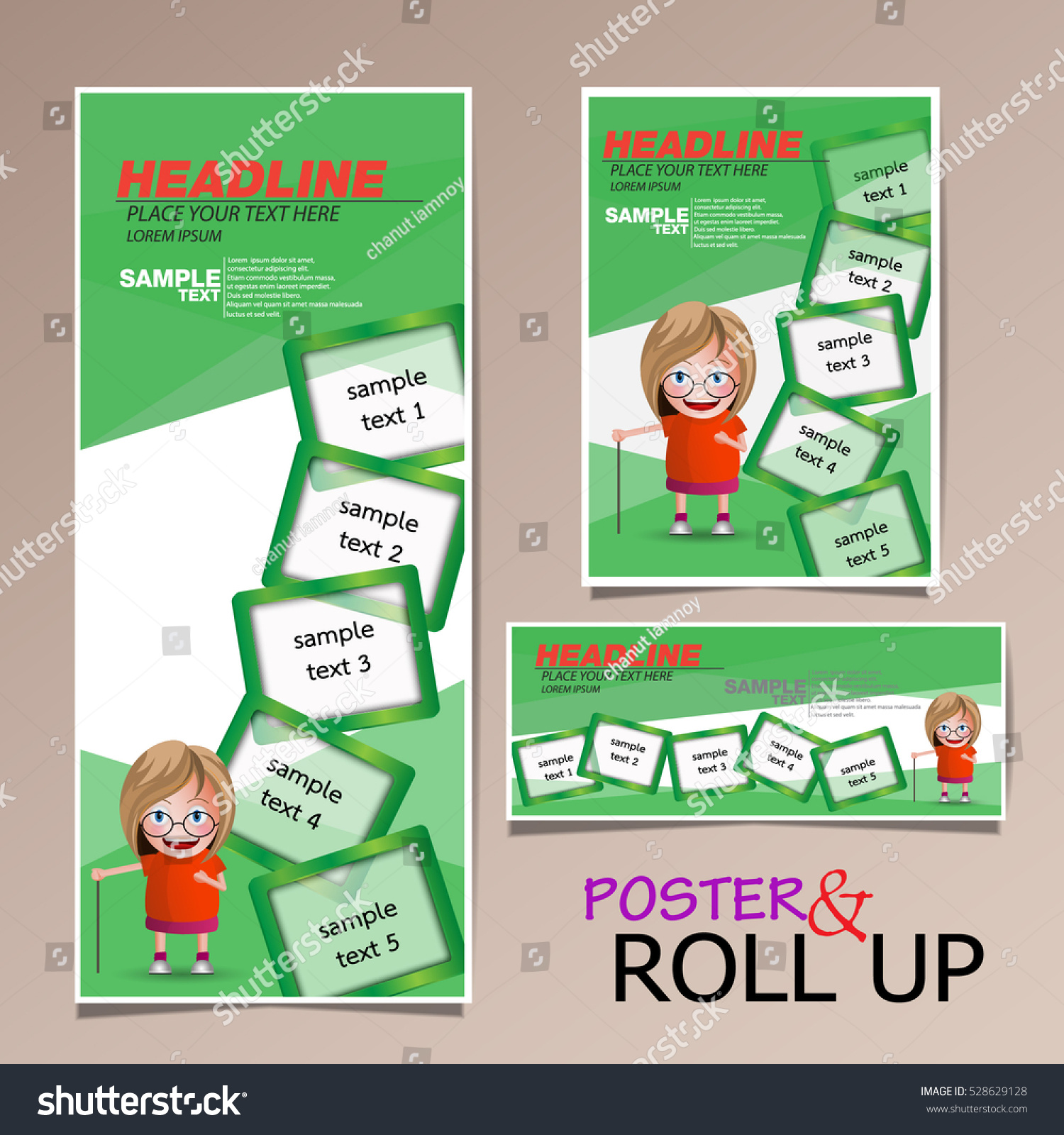 Green roll up business brochure flyer banner design vertical template - Roll Up And Poster Business Brochure Flyer Banner Design Vertical Template Vector Cover Presentation Abstract