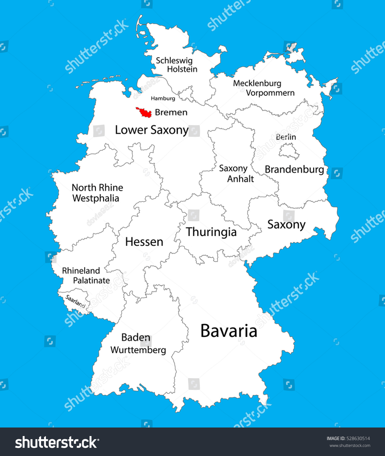 Bremen State Map Germany Vector Map Stock Vector - Germany map bremen