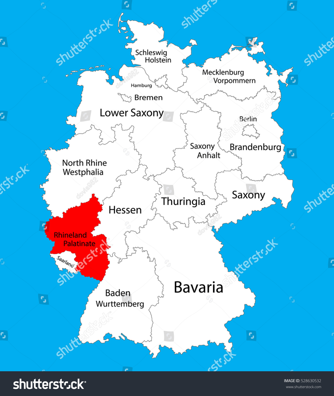 Rhineland Palatinate State Map Germany Vector Map Stock Vector