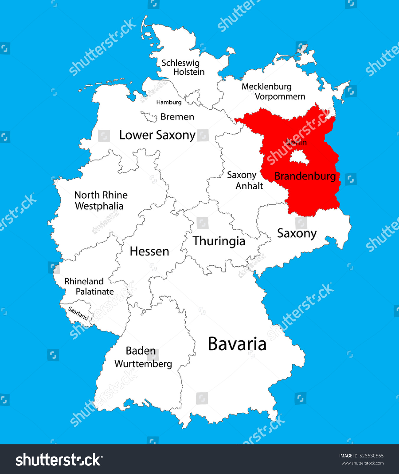 Brandenburg State Map Germany Vector Map Stock Vector HD Royalty