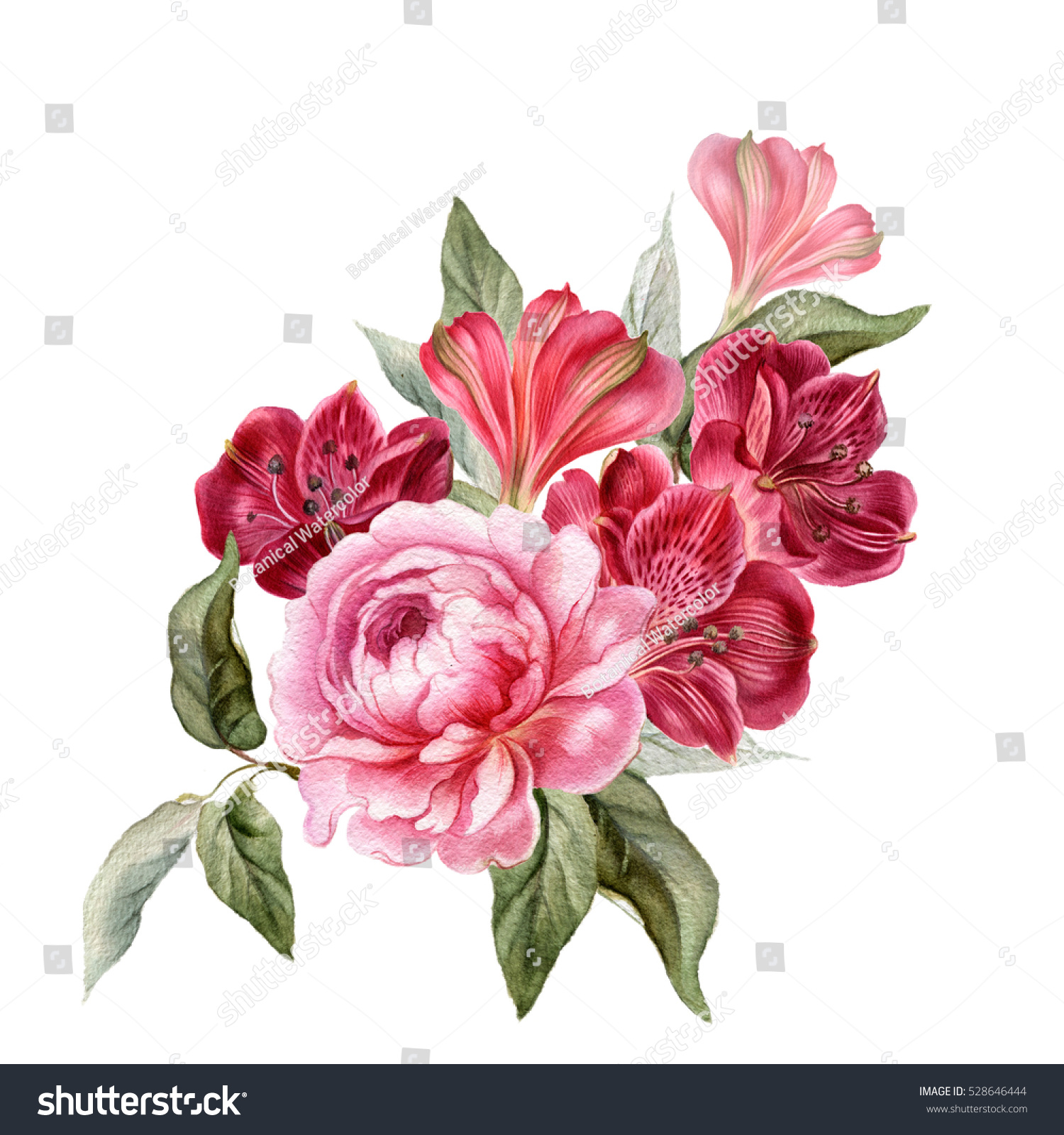 Wedding bouquet with peony in watercolor. Realistic hand drawn ...