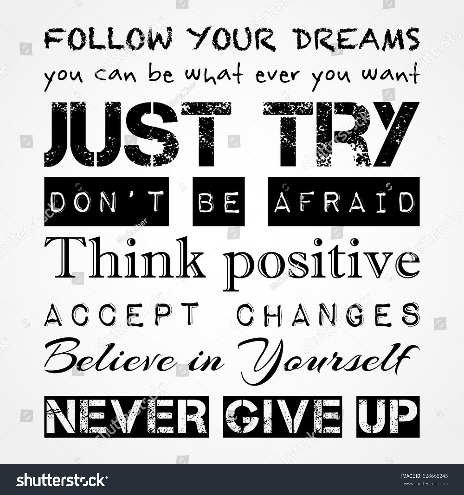 inspirational motivational quotes banner print concept follow stock