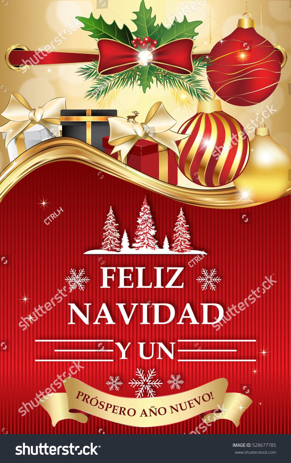 Spanish Greeting Card New Year Feliz Stock Illustration 528677785