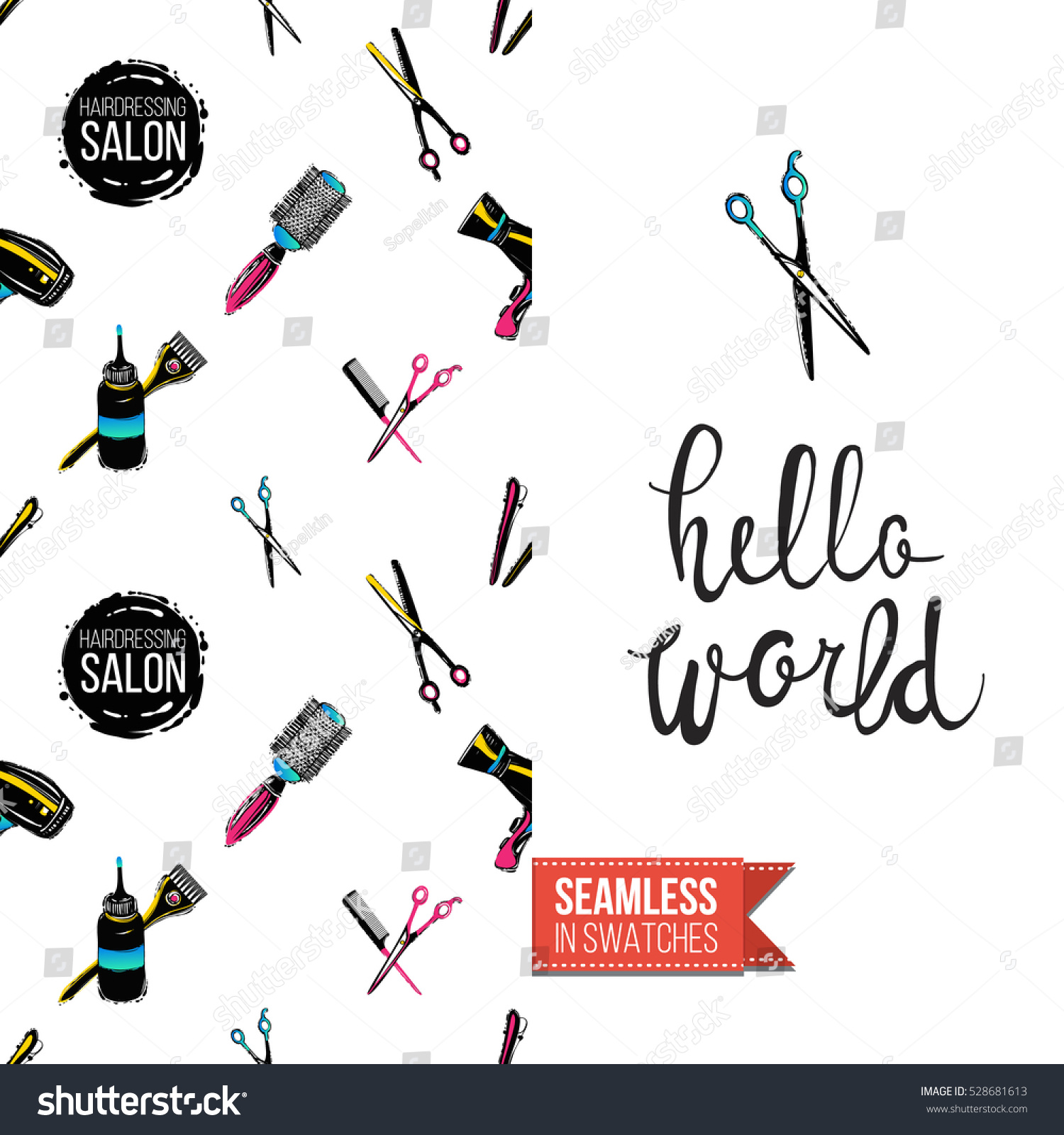 Greeting Card Promotion Beauty Salon Seamless Stock Vector 2018
