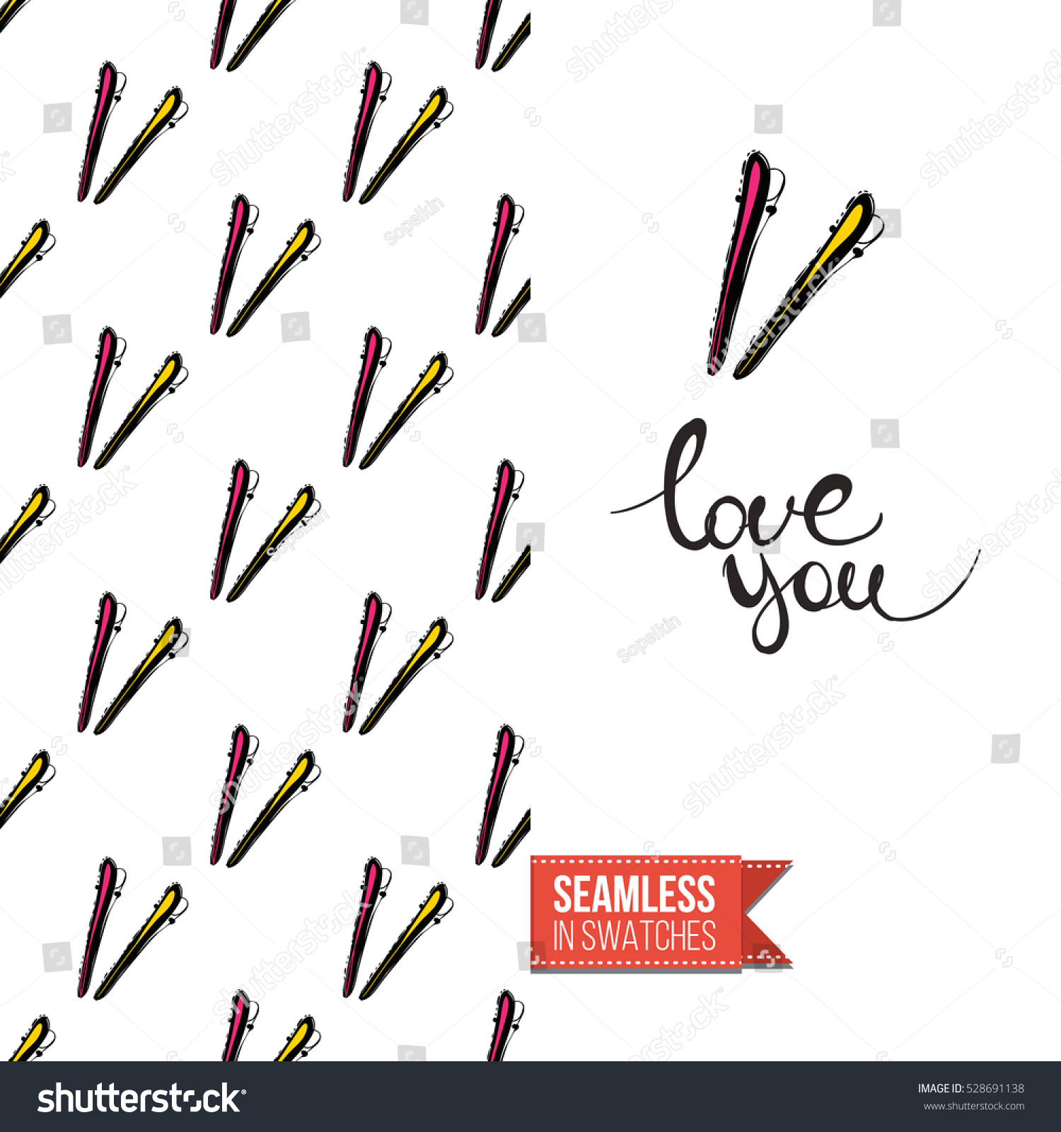 Greeting Card Promotion Beauty Salon Seamless Stock Vector 528691138