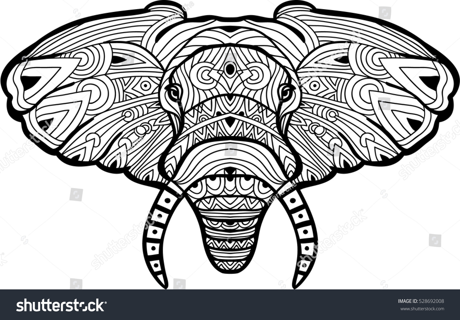 Monochrome Hand Drawn Ink Drawing Painted Elephant On White Background With Tribal Pattern