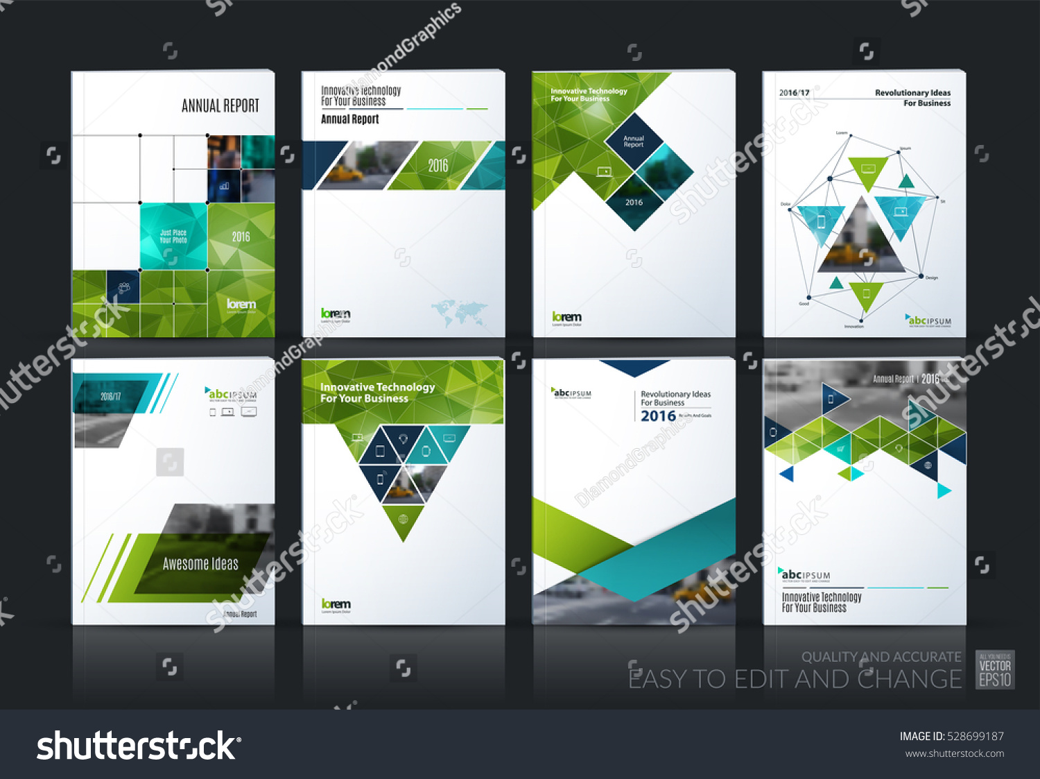 Business vector set Brochure template layout cover design annual report magazine flyer in A4 with green geometric shapes squares triangles arrows for IT business building Abstract
