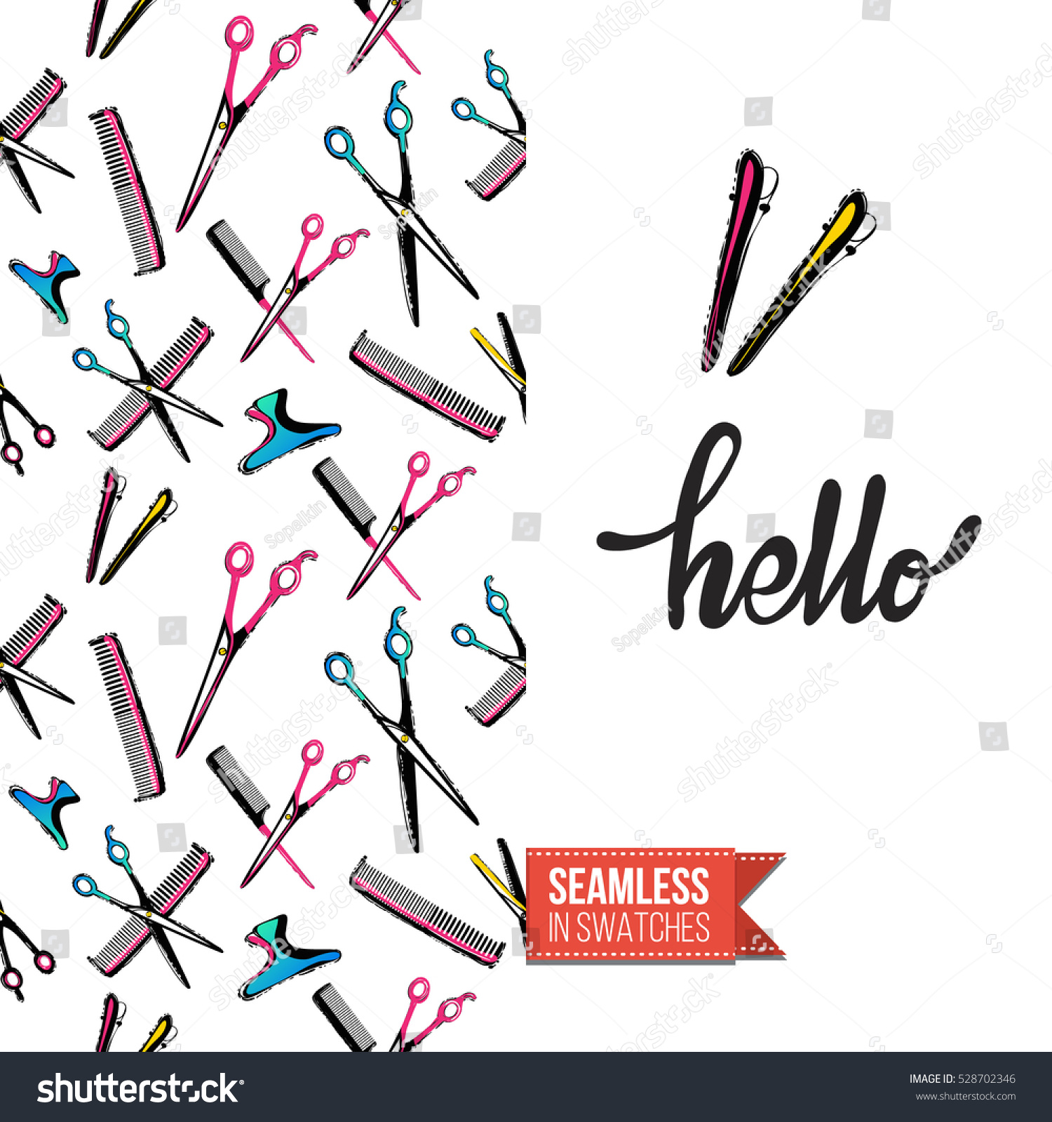 Greeting Card Promotion Beauty Salon Seamless Stock Vector Royalty