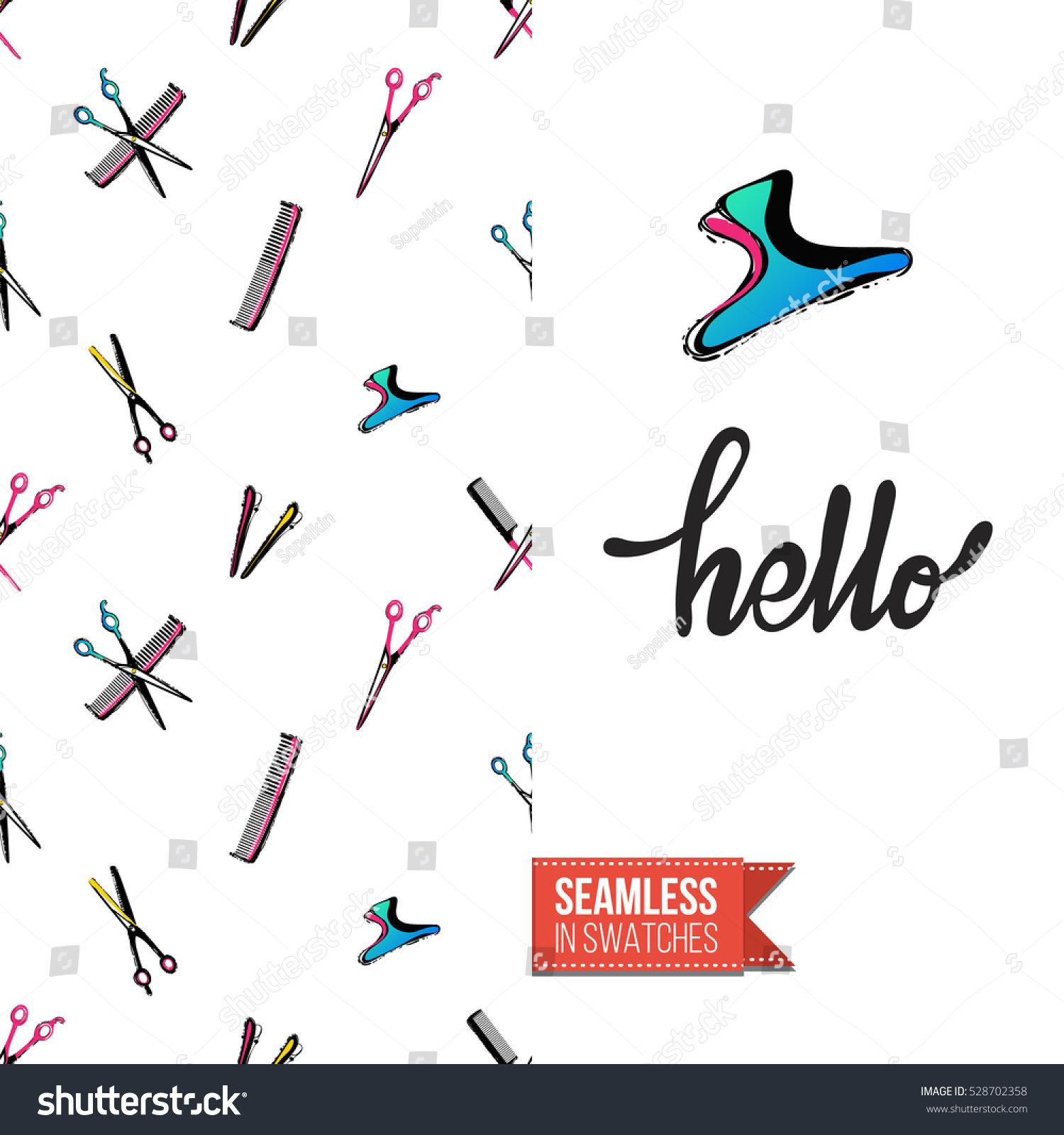 Greeting Card Promotion Beauty Salon Seamless Stock Vector 528702358