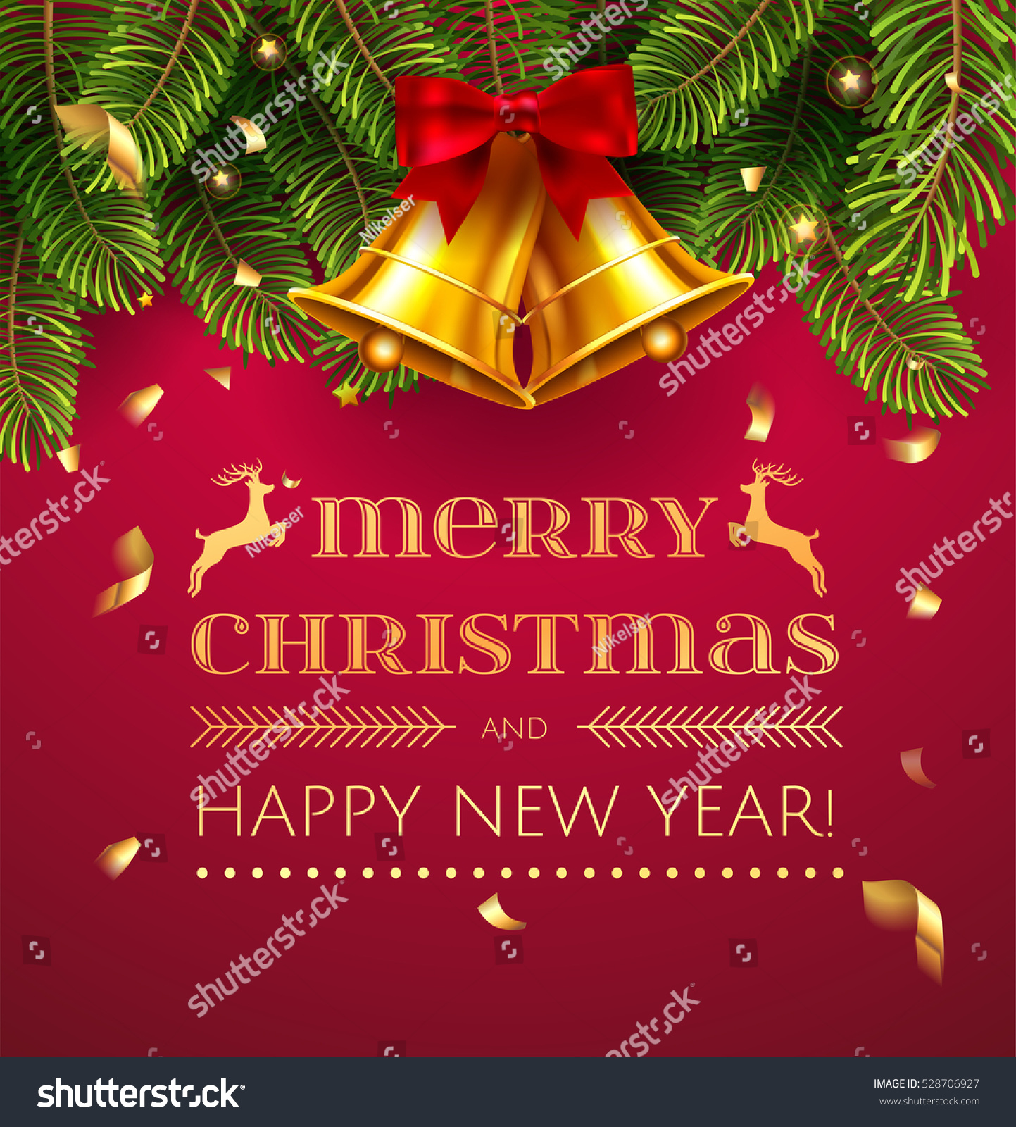 merry christmas and happy new year greeting card with chrirstmas decorations fir tree border gold