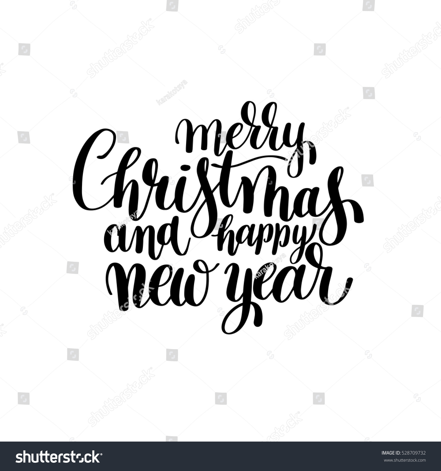 Black White Merry Christmas Happy New Stock Vector (Royalty Free ...