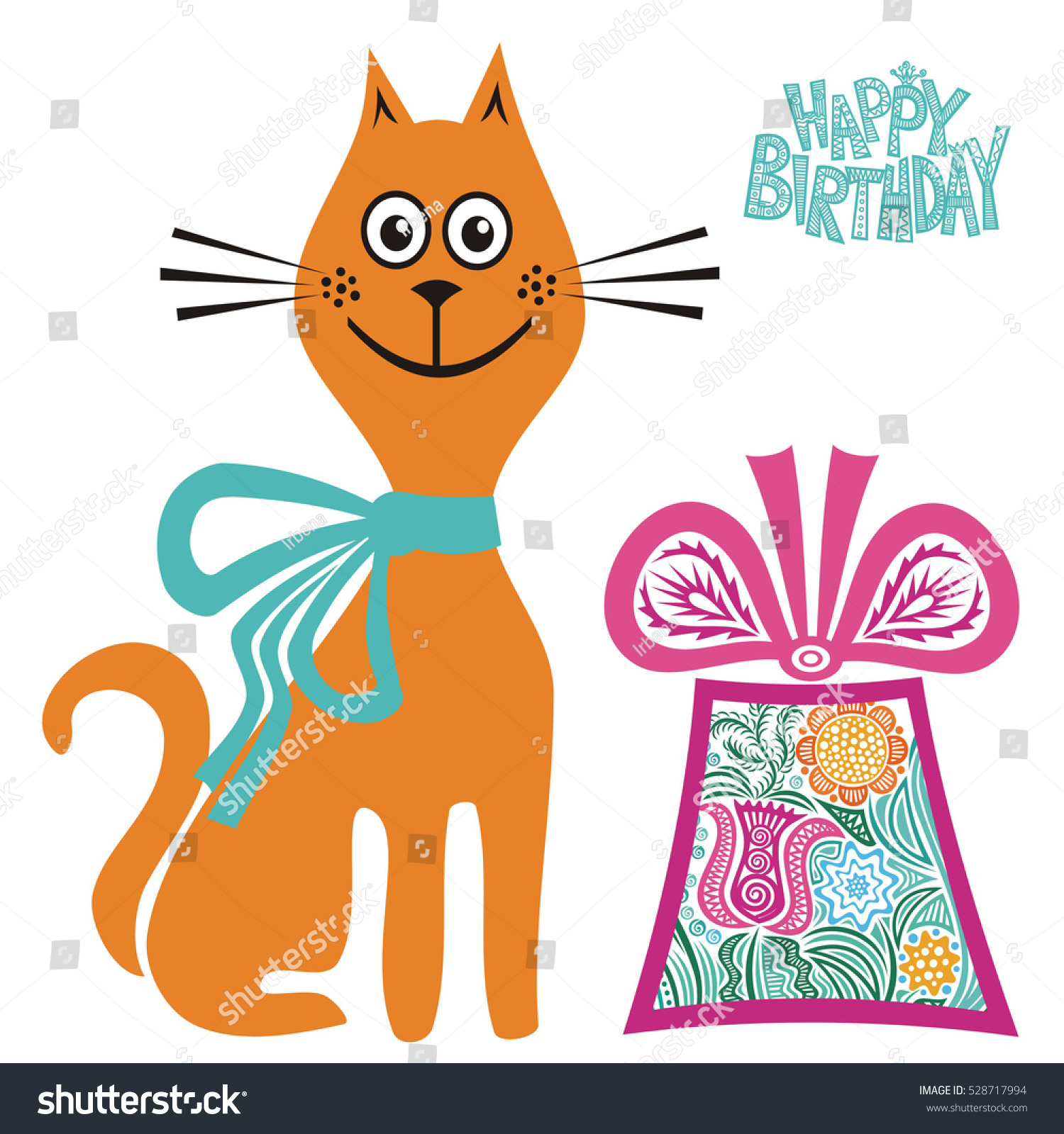 Happy Birthday Greeting Card Cute Cartoon Stock Vector