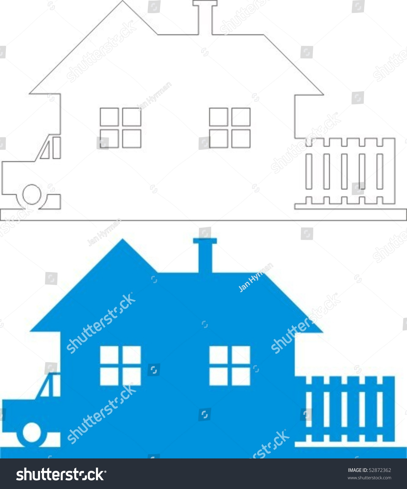 House black and white line drawing and colour clip art illustration