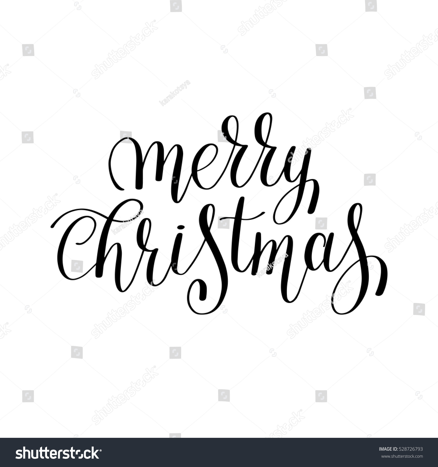 merry christmas black and white handwritten lettering inscription holiday  phrase, typography banner with brush script