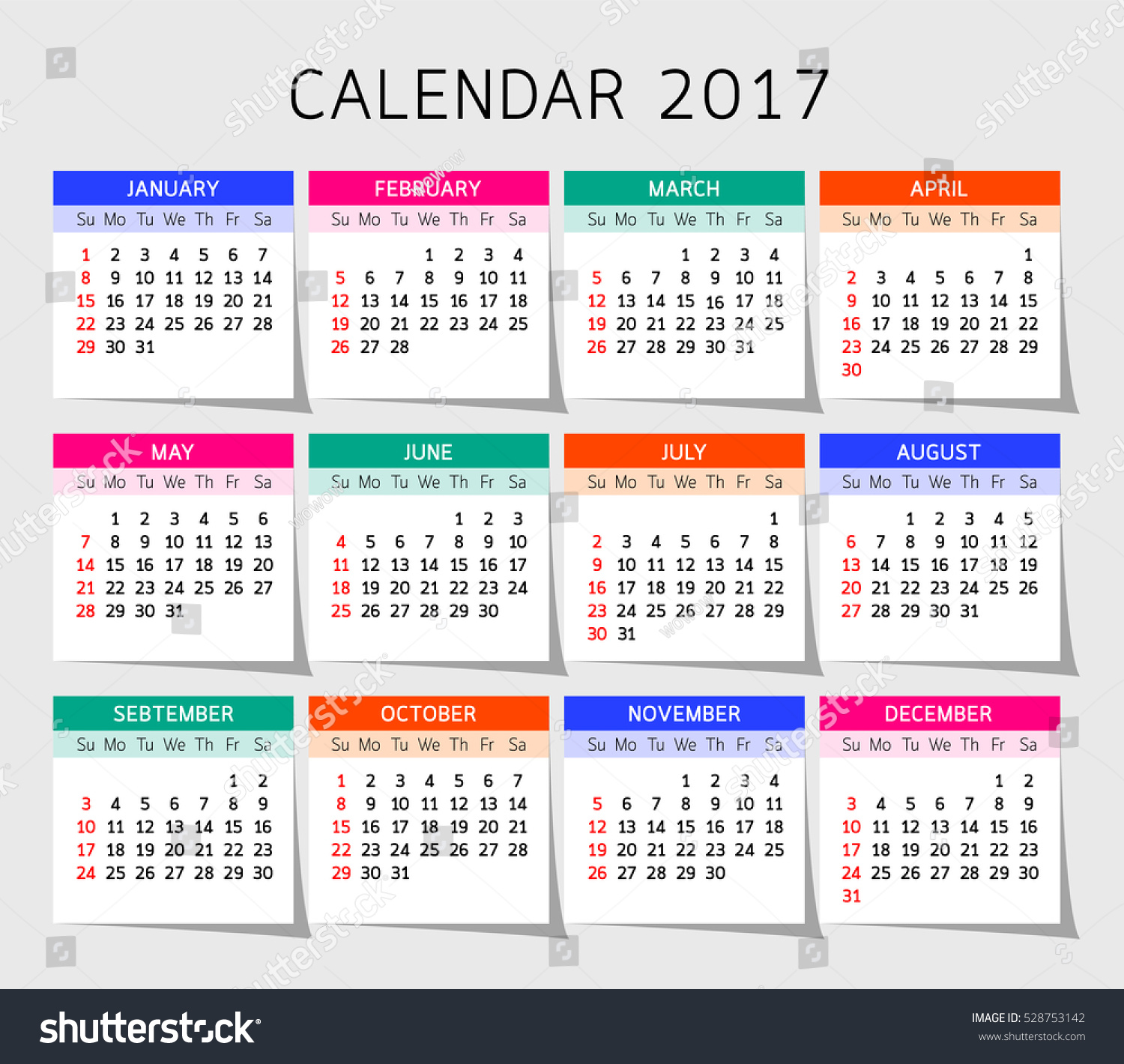 Calendar Month Illustration : Calendar year vector illustration design template stock