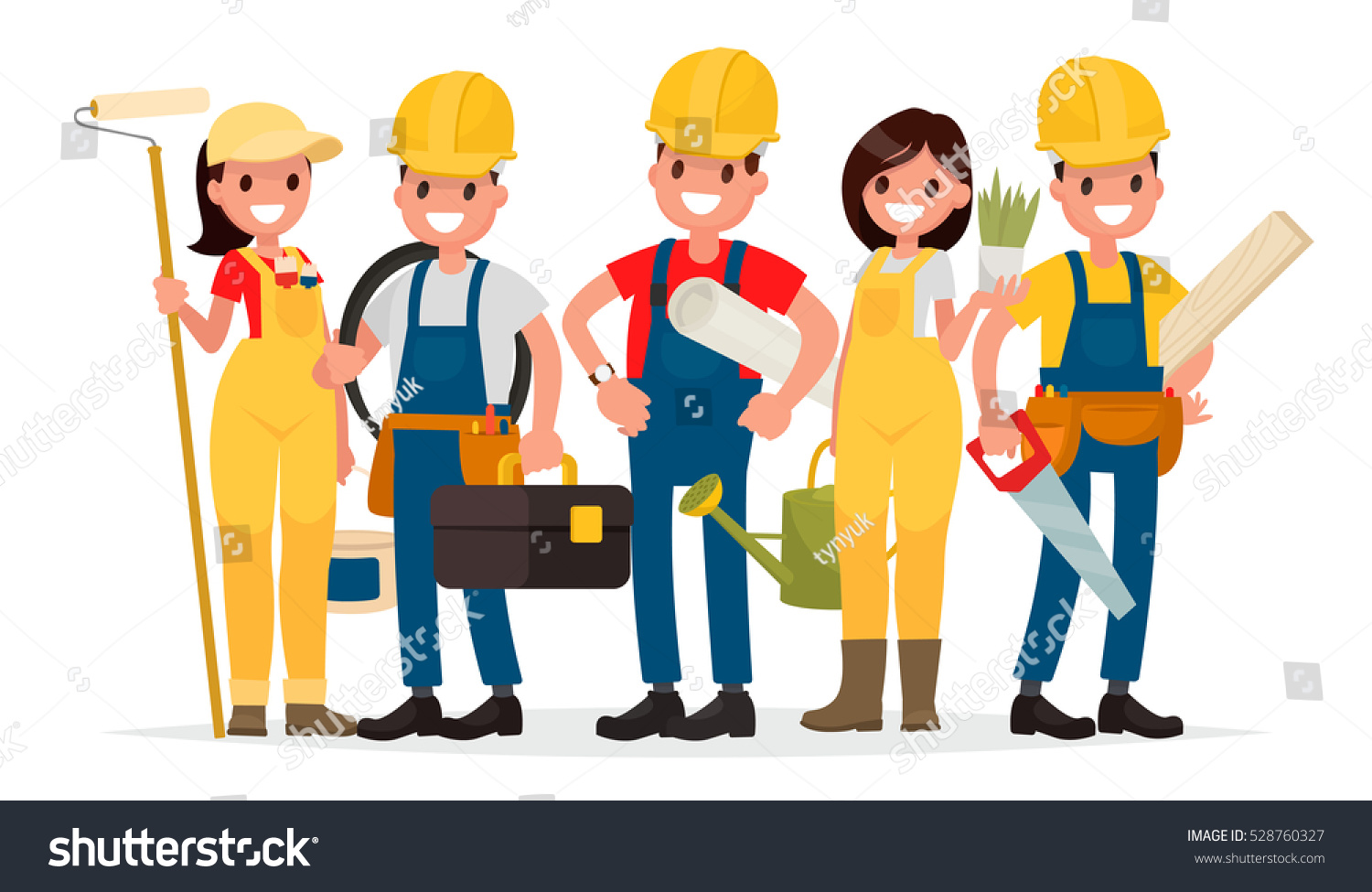 Carpenter Style House Team Workers Building House Foreman Painter Stock Vector